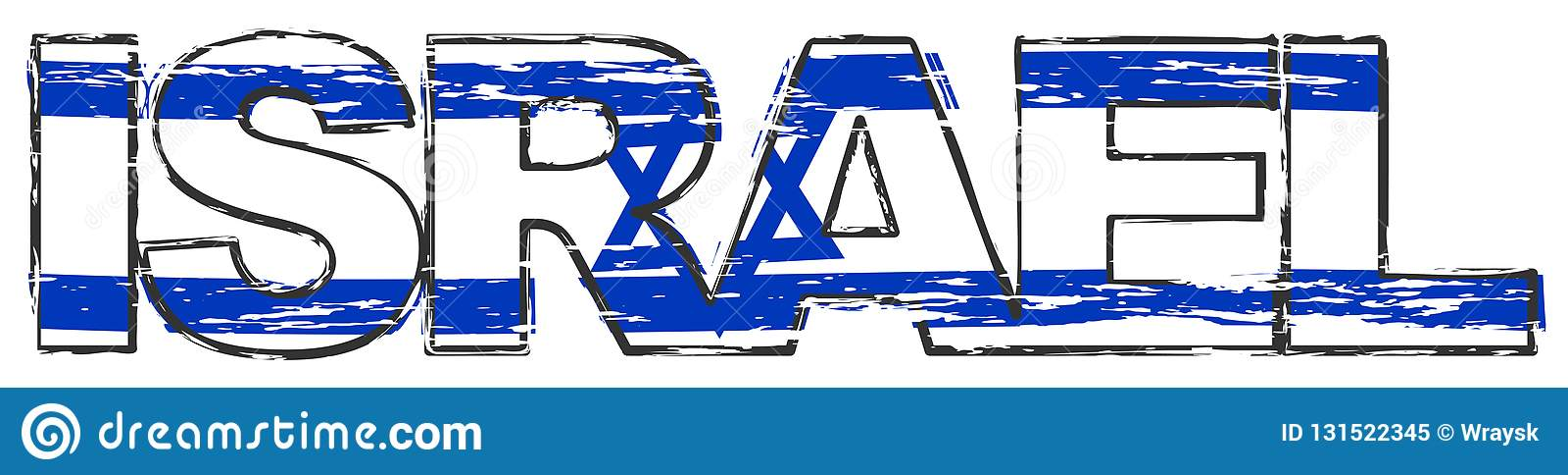 Ord ISRAEL med den israeliska nationsflaggan under den, bekymrad grungeblick