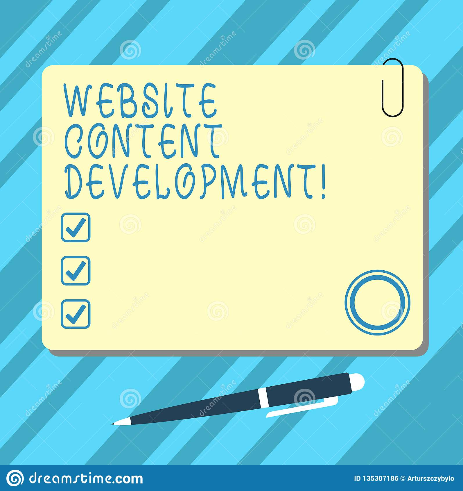 Ord som skriver utveckling för textWebsiteinnehåll Affärsidé för process av att utfärda information som avläsare för att finna an