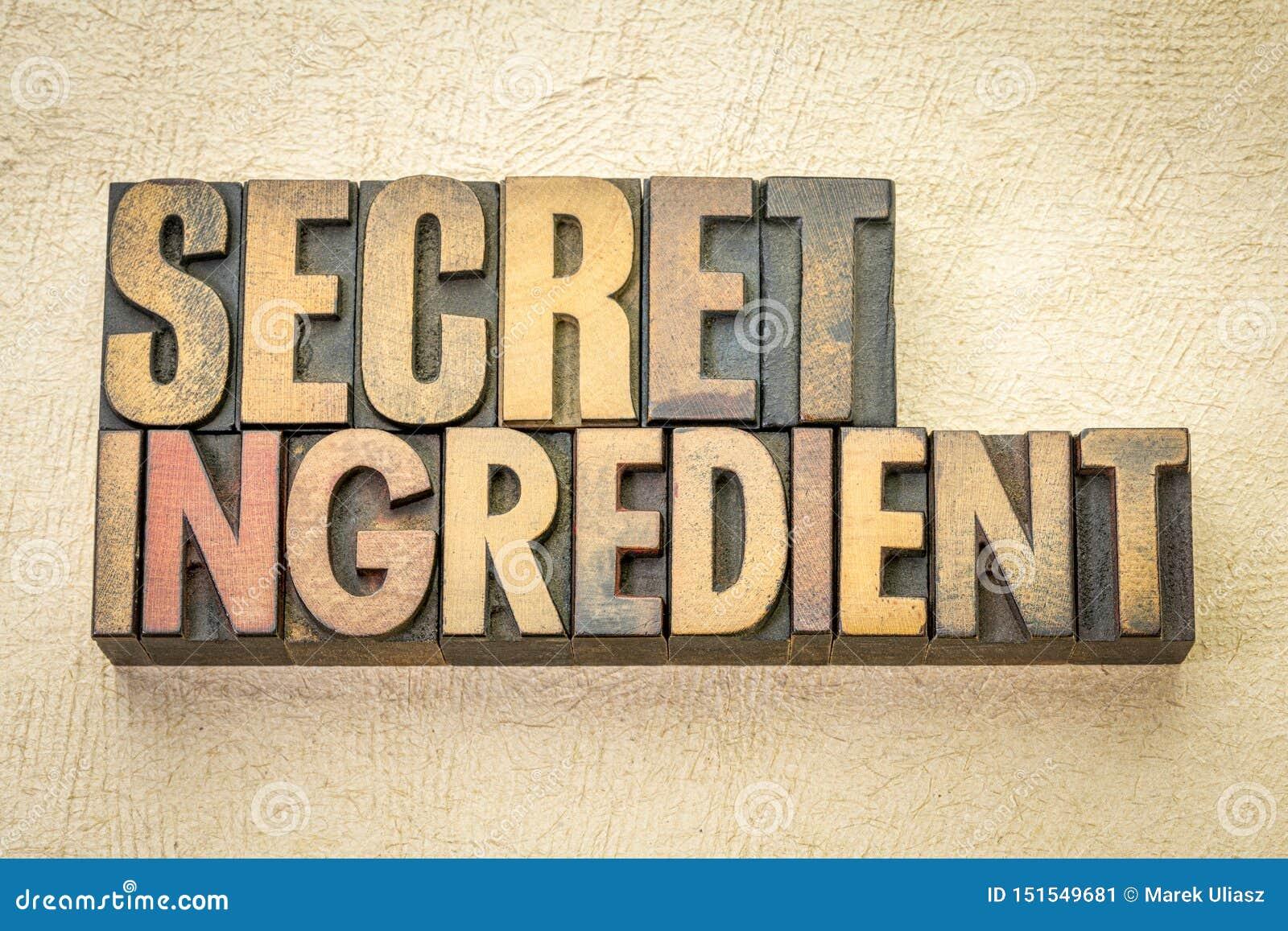 Ordabstrakt begrepp för hemlig ingrediens i trätyp