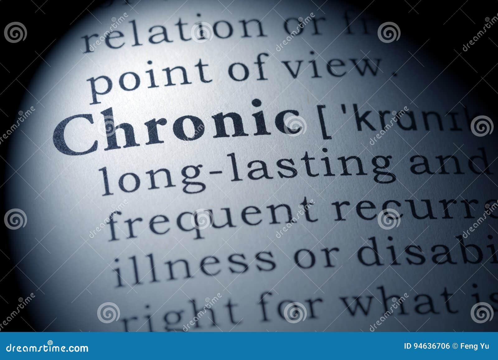 Ordbokdefinition av kroniskt