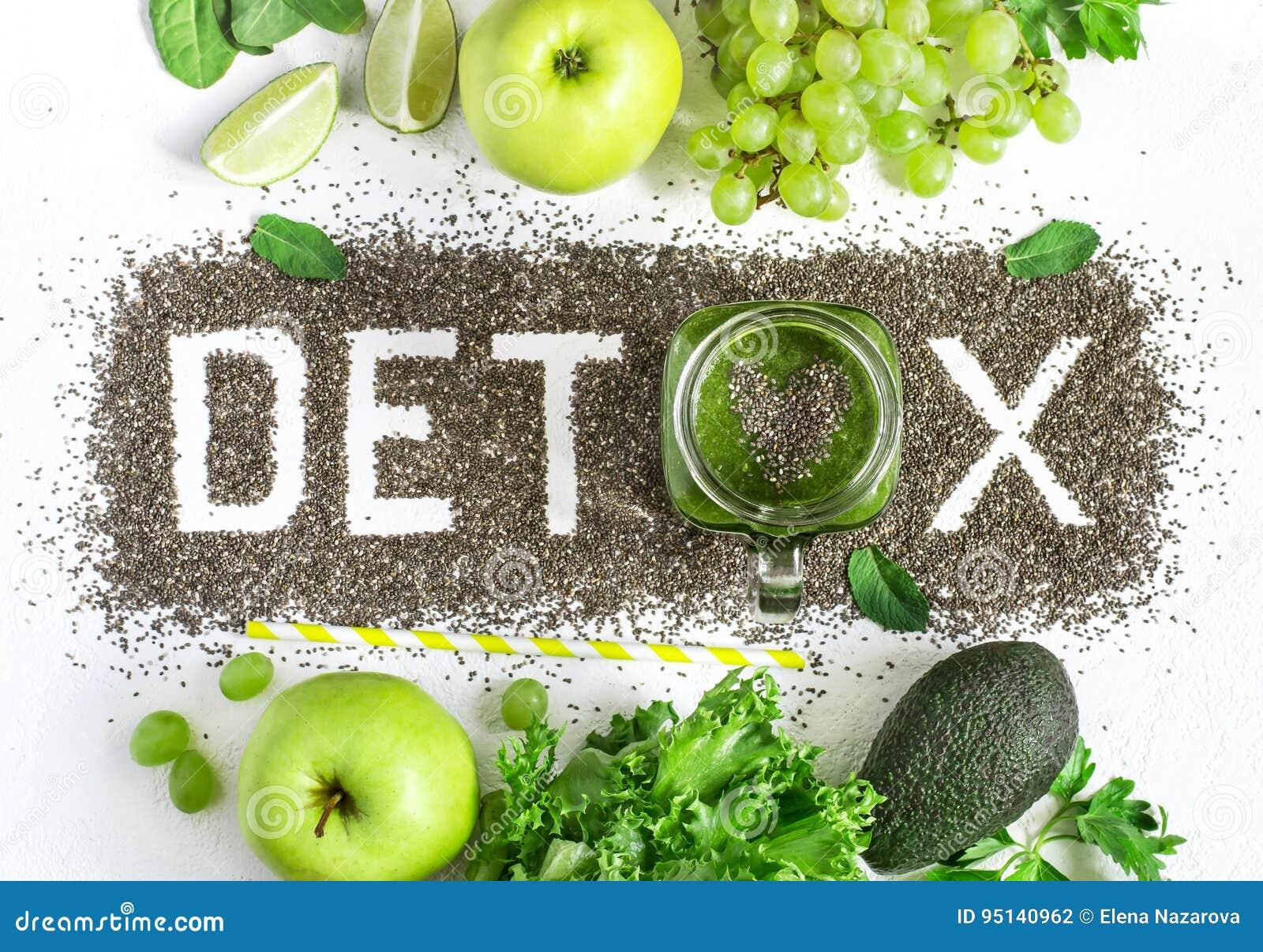 Orddetoxen göras från chiafrö Gröna smoothies och ingredienser Begreppet av bantar och att rentvå kroppen, sunt äta