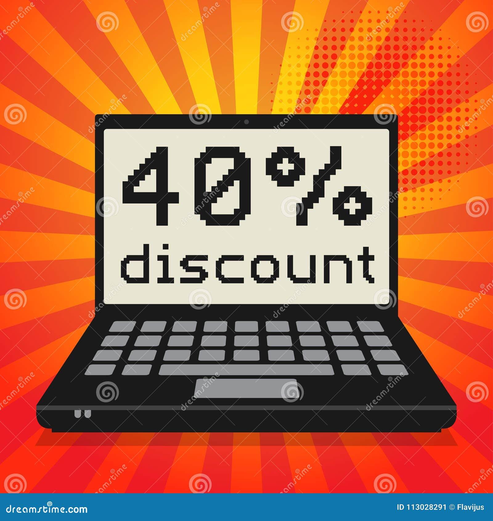 Ordenador, concepto del negocio con el texto descuento del 40 por ciento