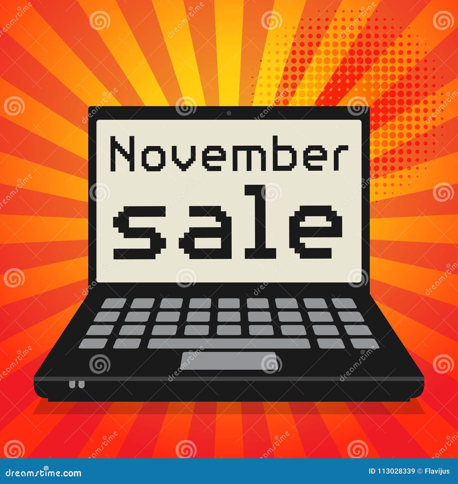 Ordenador, concepto del negocio con la venta de noviembre del texto