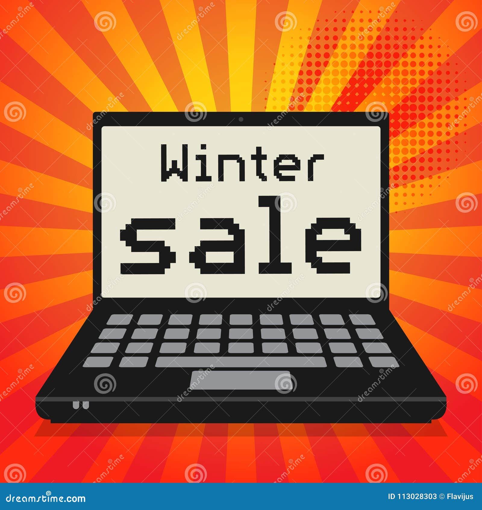 Ordenador, concepto del negocio con venta del invierno del texto
