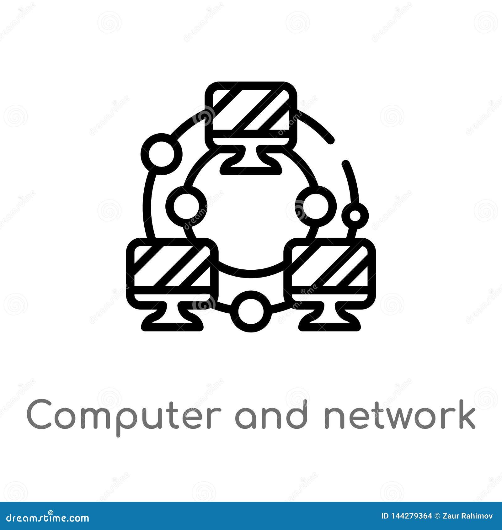 Ordenador del esquema e icono del vector de la red línea simple negra aislada ejemplo del elemento del concepto de la educación V