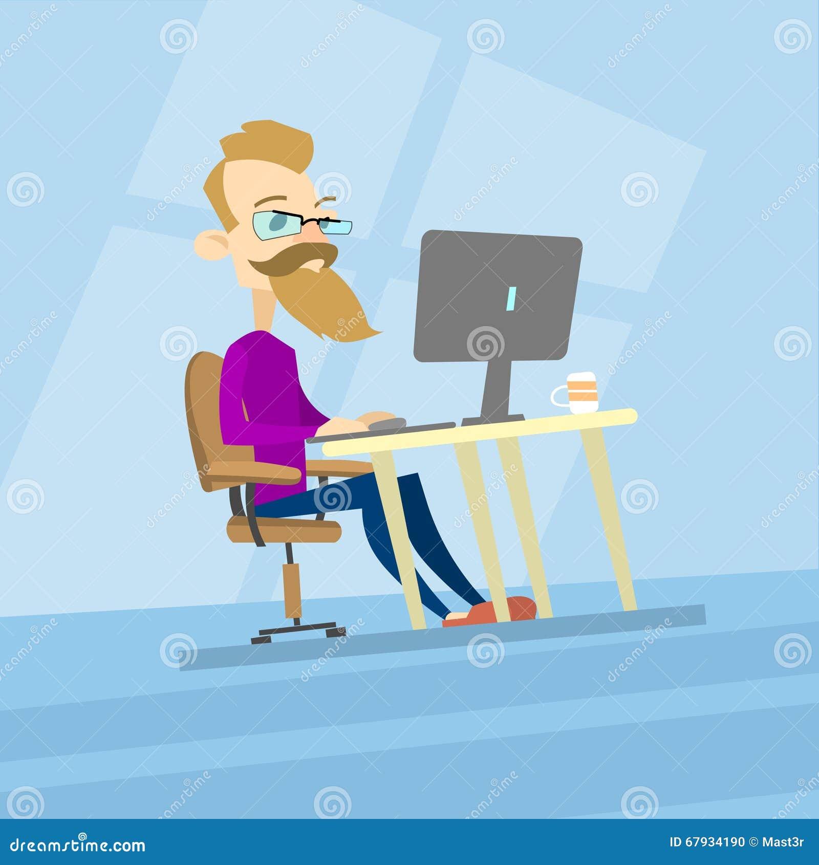 Ordenador del trabajo del inconformista del hombre de negocios, tipo de escritorio Blogger casual, Freelancer