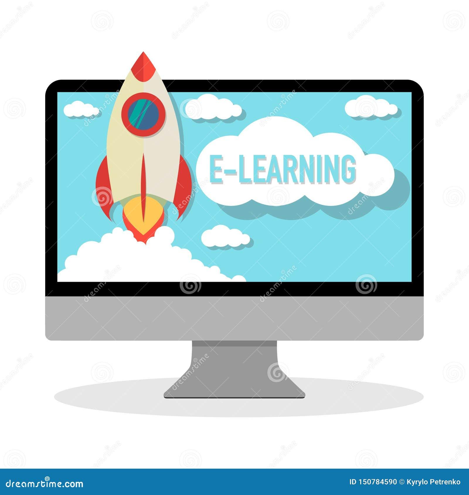 Ordenador en línea del aprendizaje electrónico del curso con el lanzamiento de cohete