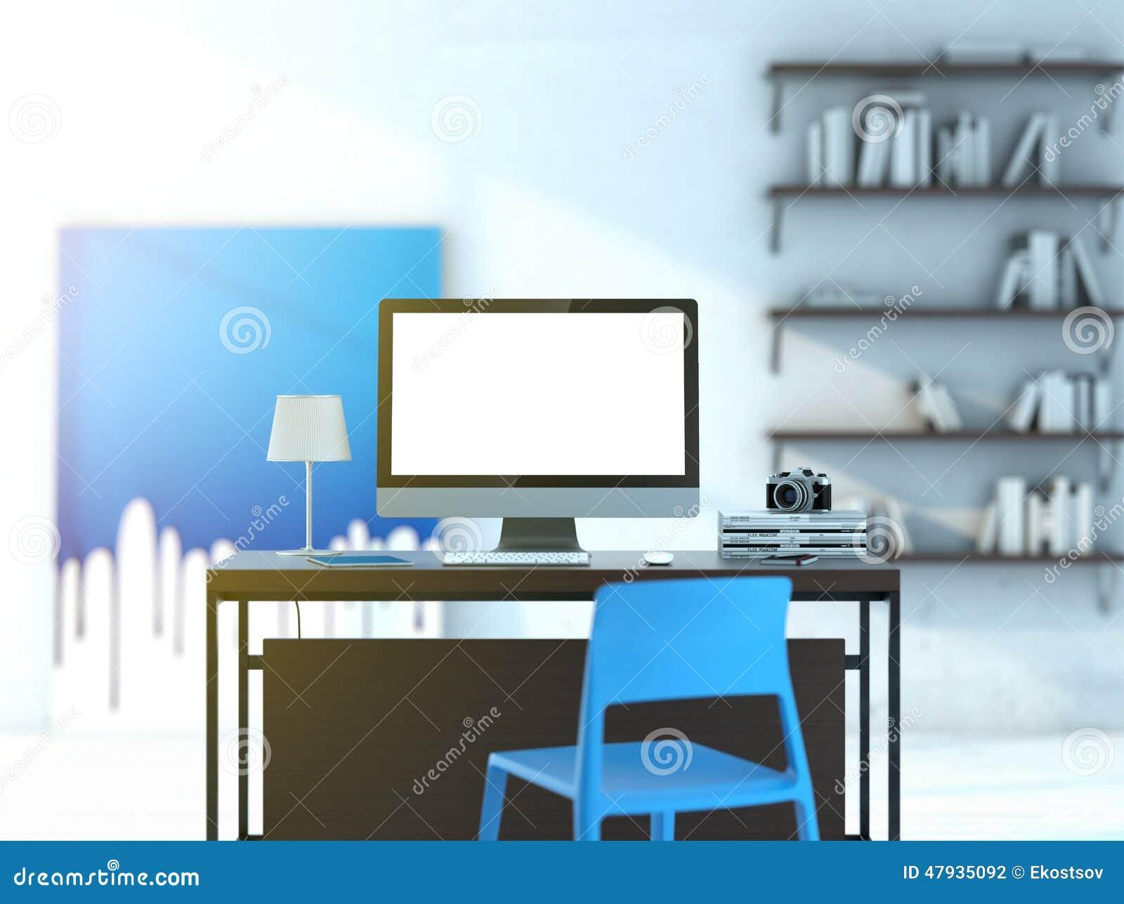 Ordenador en la tabla en estudio moderno