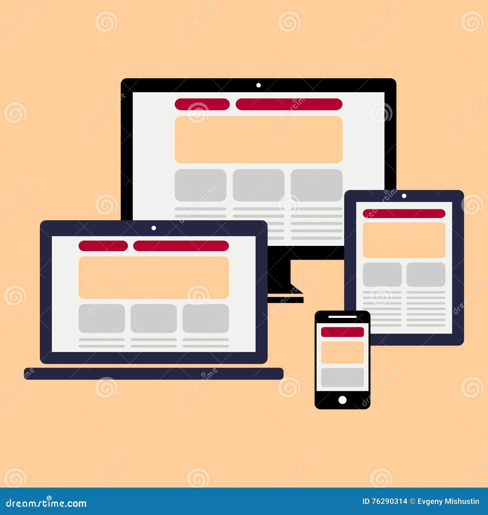Ordenador, iconos de la tableta del smartphone del cuaderno fijados