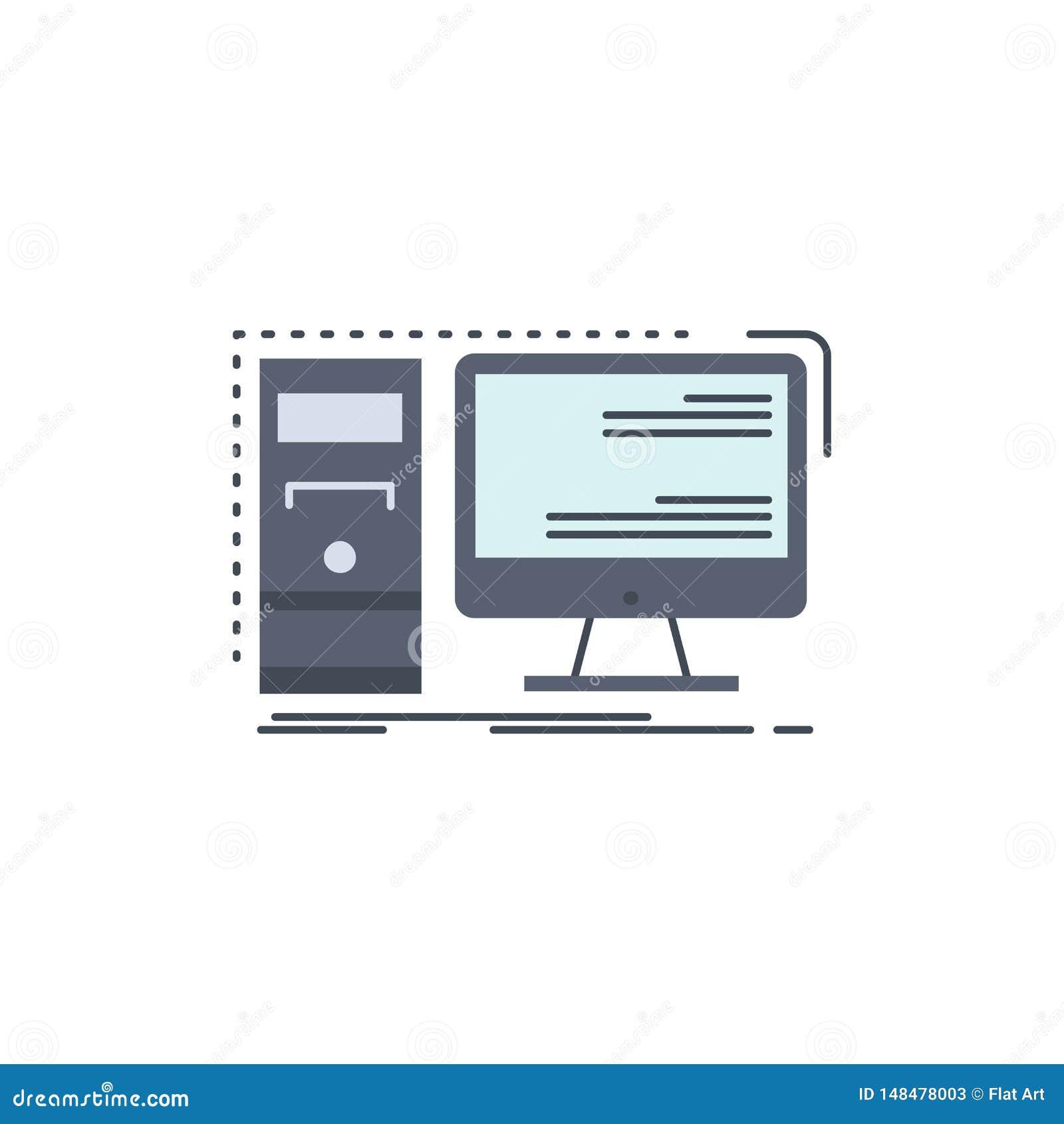 Ordenador, mesa, hardware, puesto de trabajo, vector plano del icono del color del sistema