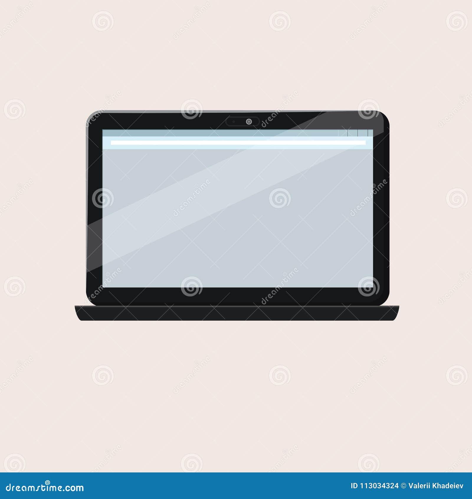 Ordenador portátil abierto moderno con la pantalla en blanco aislada en el fondo blanco Maqueta realista del ordenador portátil V