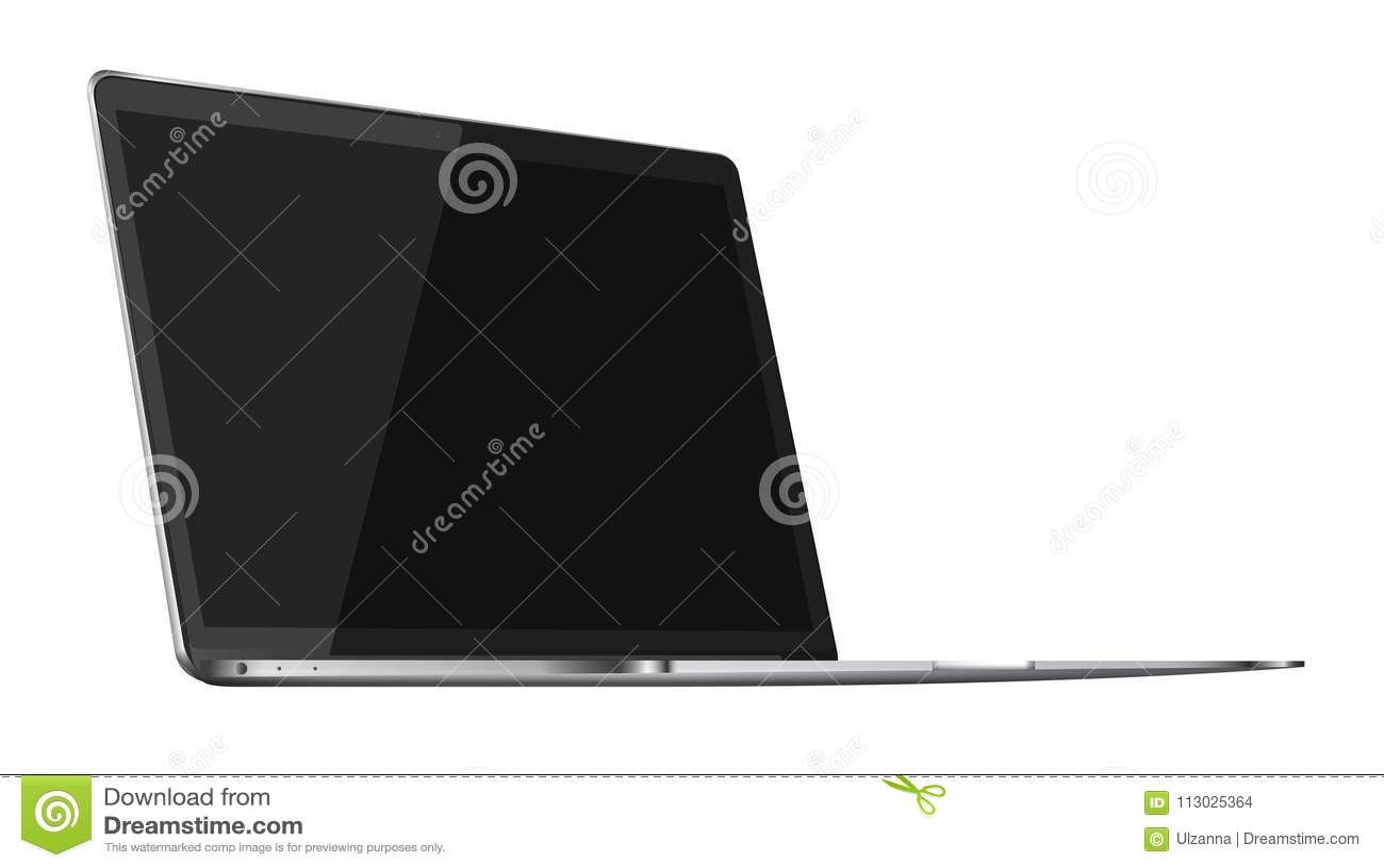 Ordenador portátil brillante moderno aislado en el fondo blanco