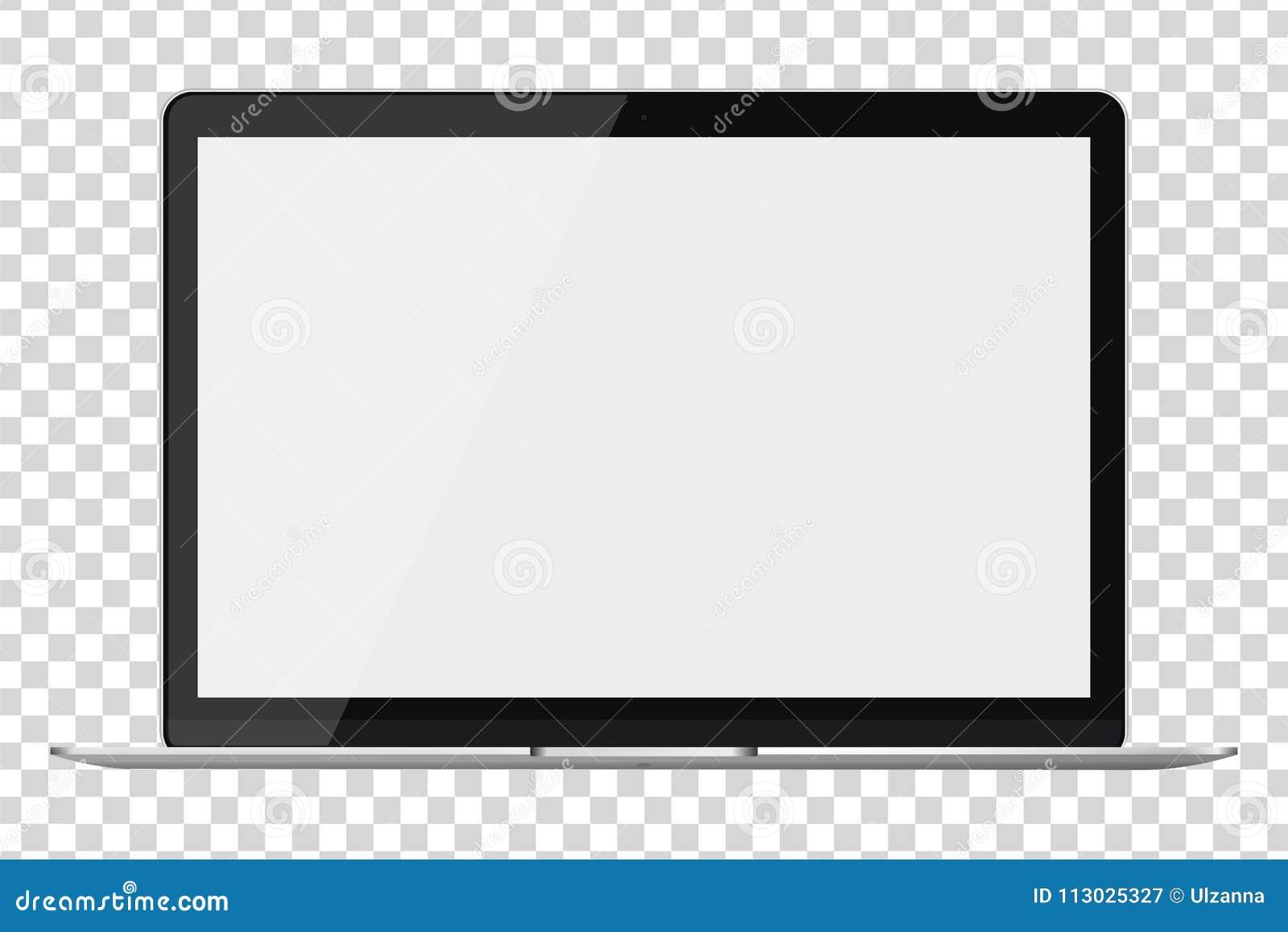 Ordenador portátil brillante moderno aislado en fondo transparente