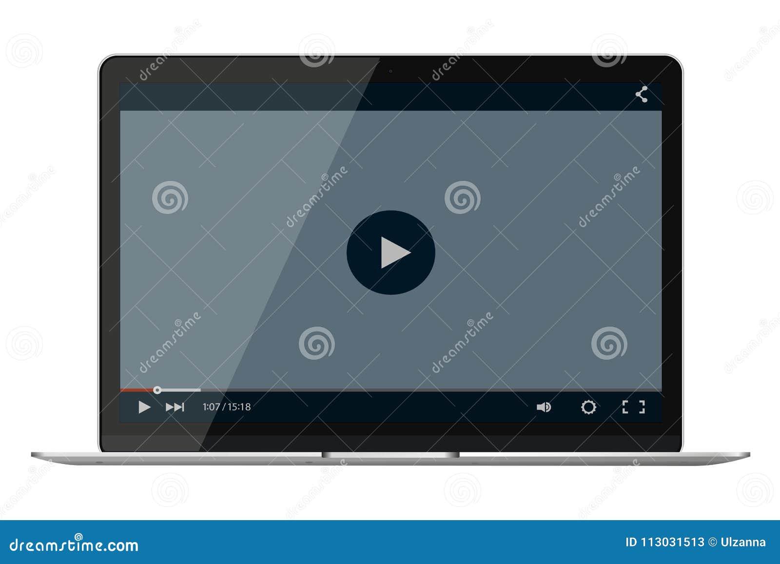 Ordenador portátil brillante moderno con la maqueta del vídeo en la pantalla