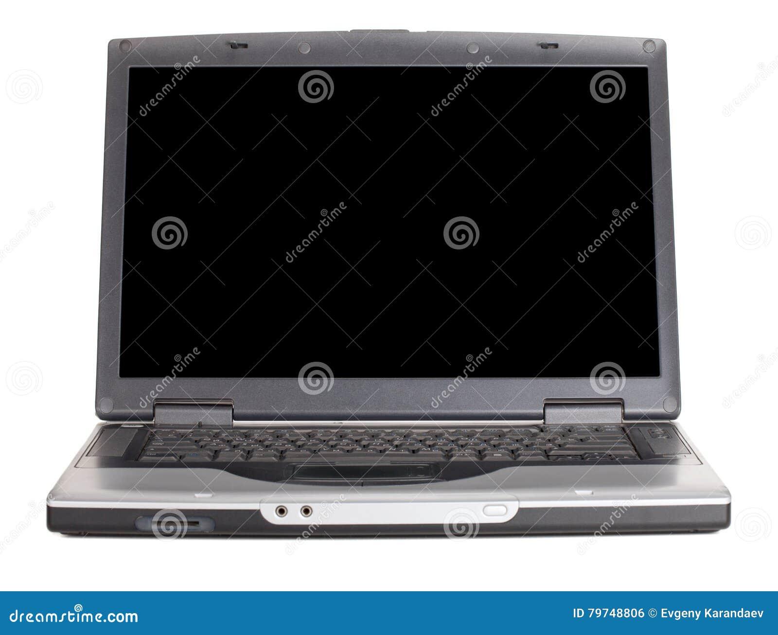 Ordenador portátil con la pantalla negra en blanco Front View