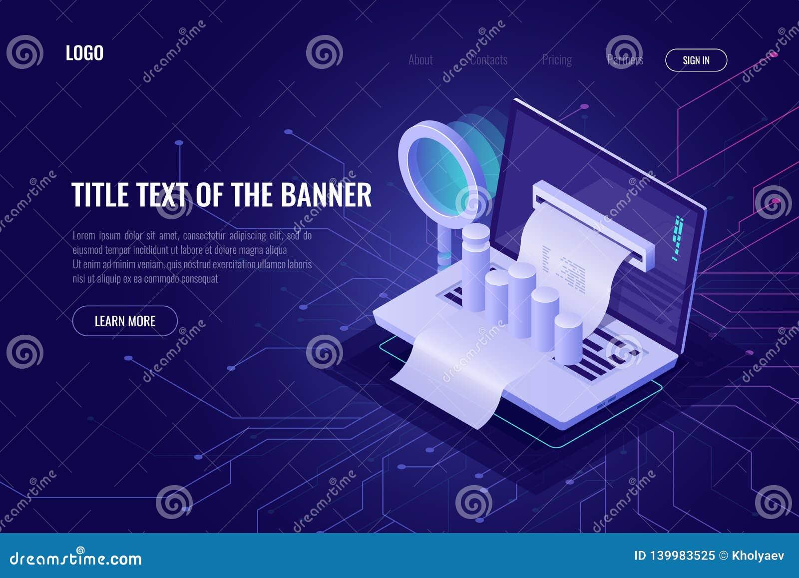 Ordenador portátil con los gráficos y la lupa de la carta de los datos isométricos, estadísticas de búsqueda y procesando de los