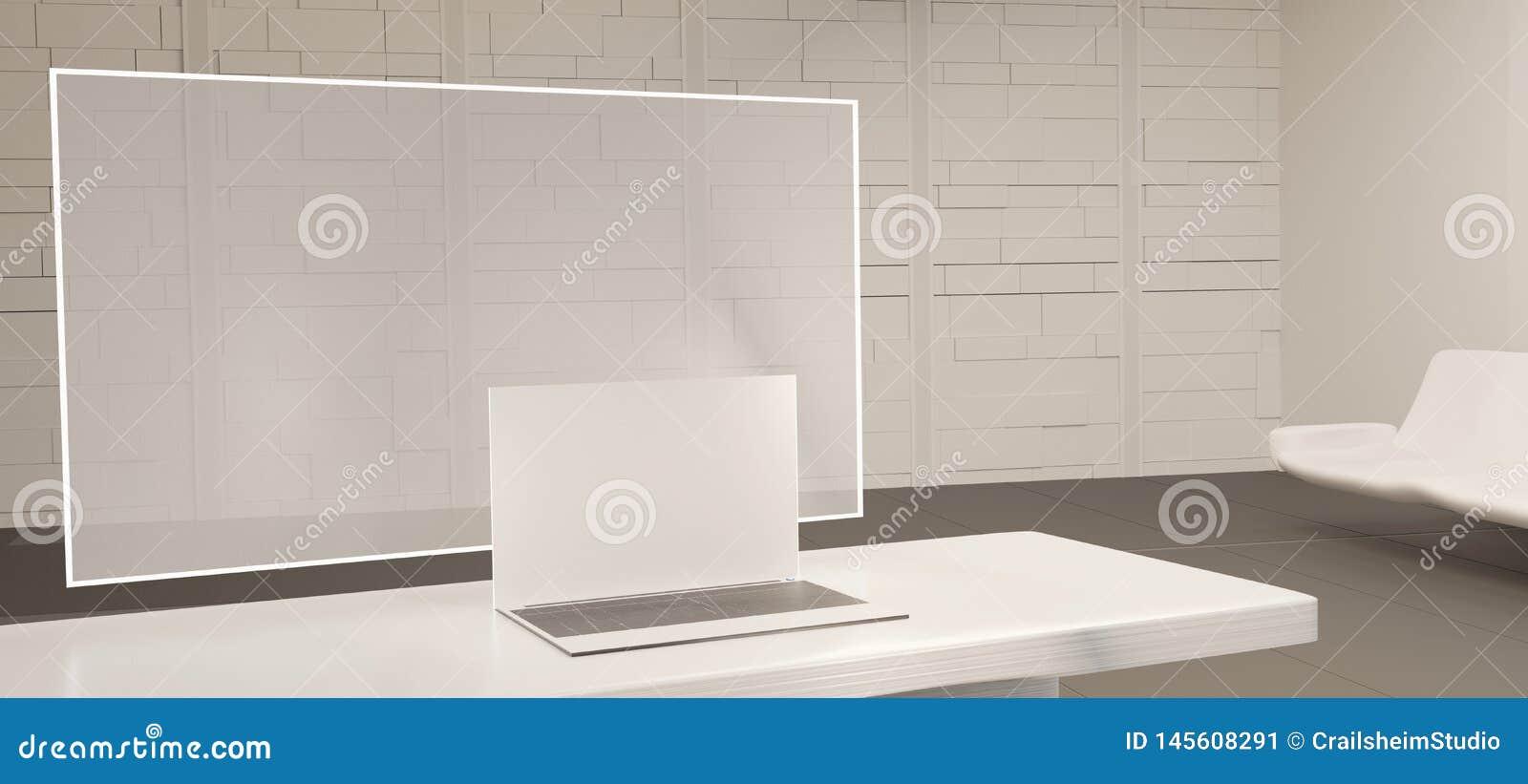 Ordenador portátil 3d-illustration de la pantalla de ordenador y del ordenador