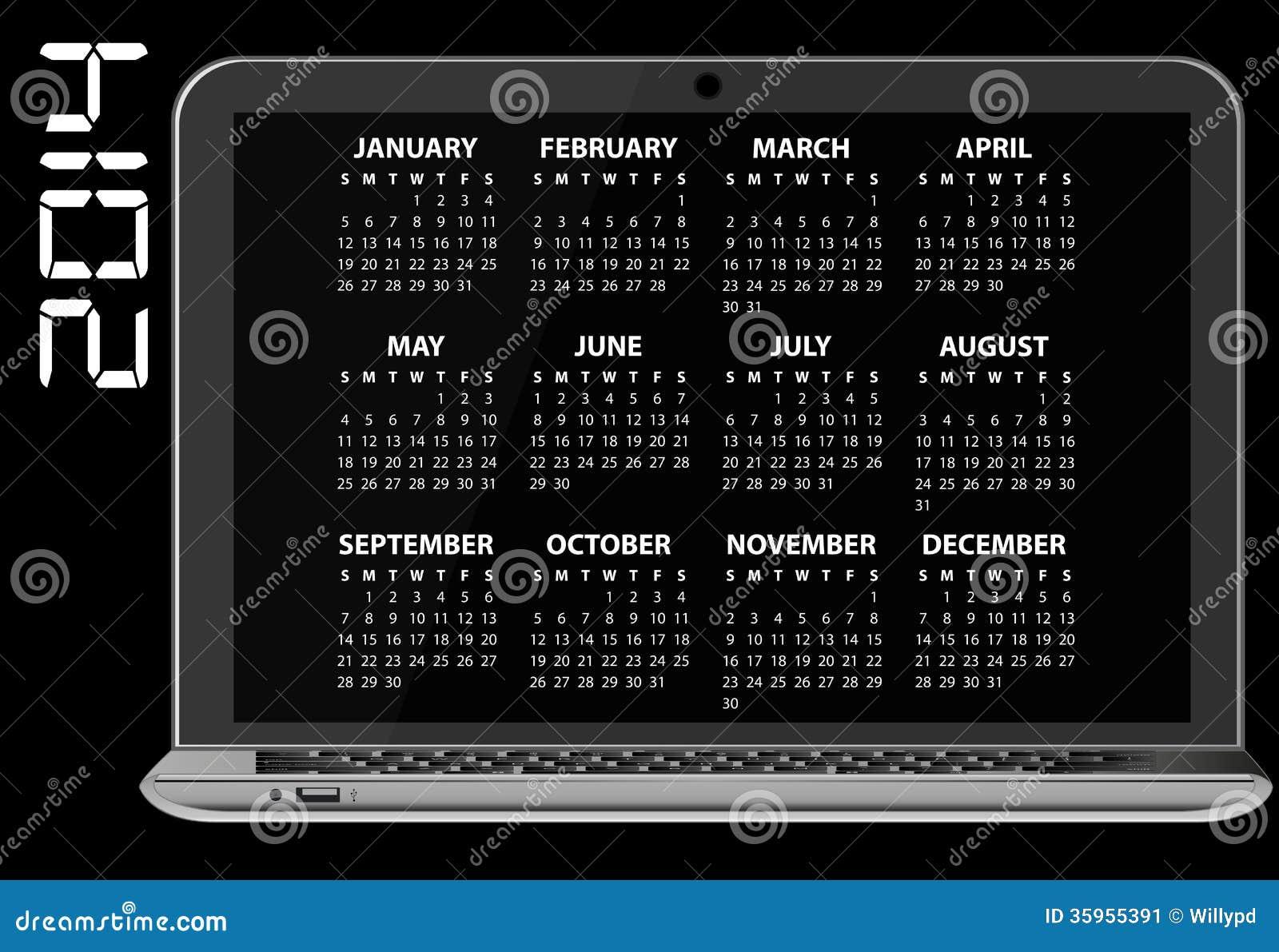 Ordenador portátil de 2014 calendarios