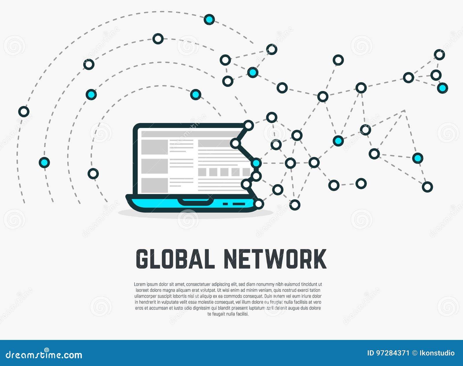 Ordenador portátil de la red del web
