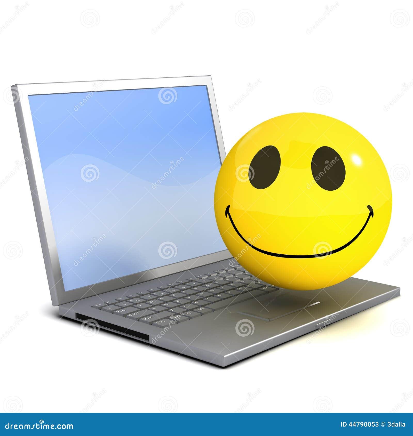 Ordenador Portátil Del Smiley 3d Stock de ilustración