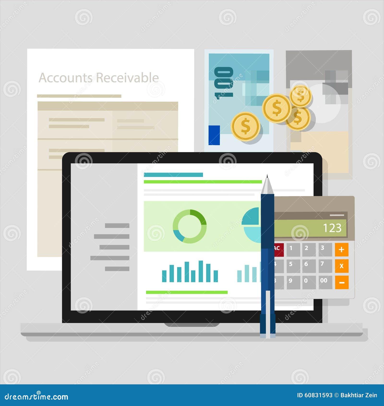 Ordenador portátil del uso de la calculadora del dinero de los programas informáticos de contabilidad de la cuenta por cobrar