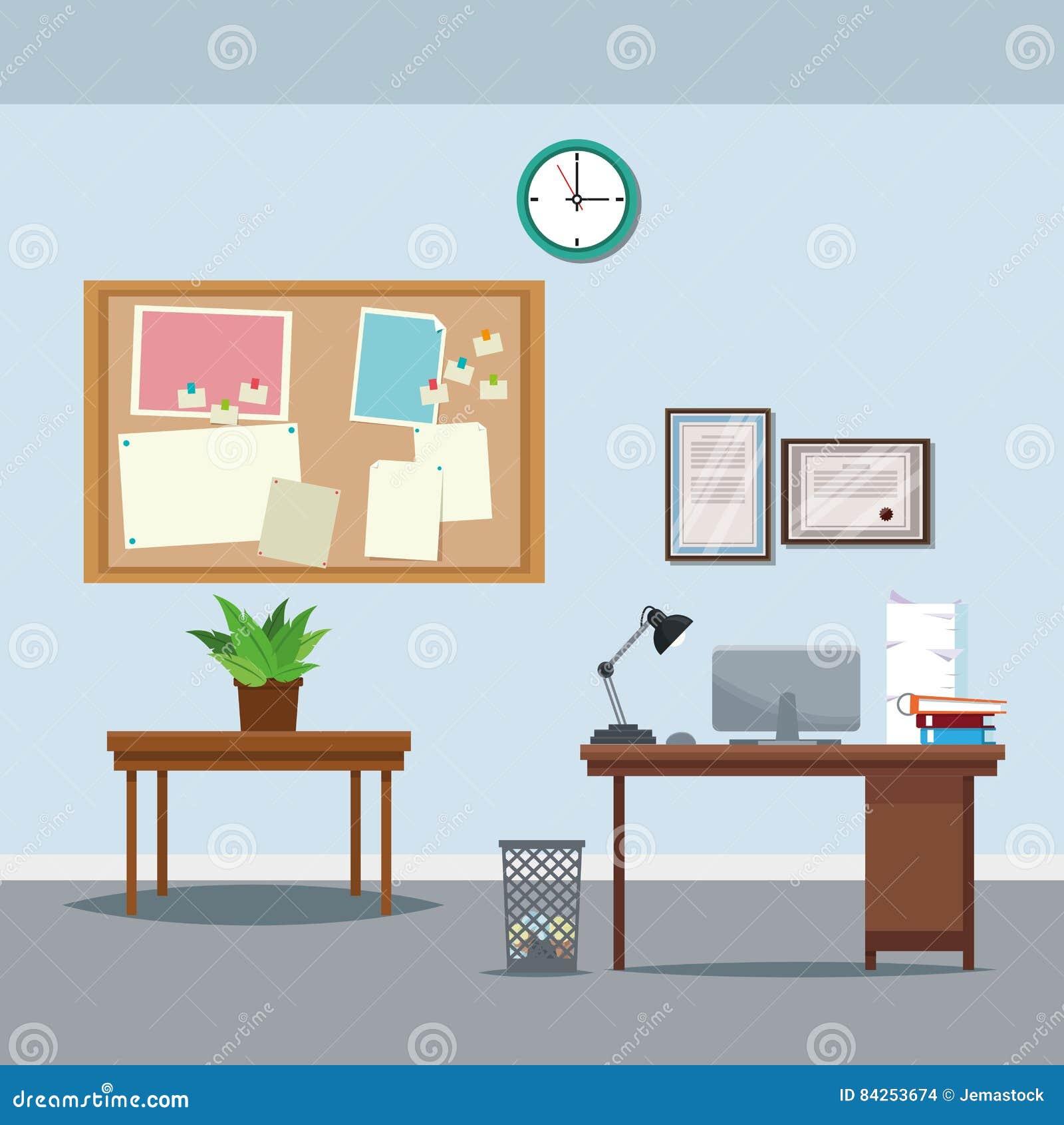 Ordenador portátil en conserva del bote de basura del tablón de anuncios del reloj de la planta de la tabla del escritorio del es