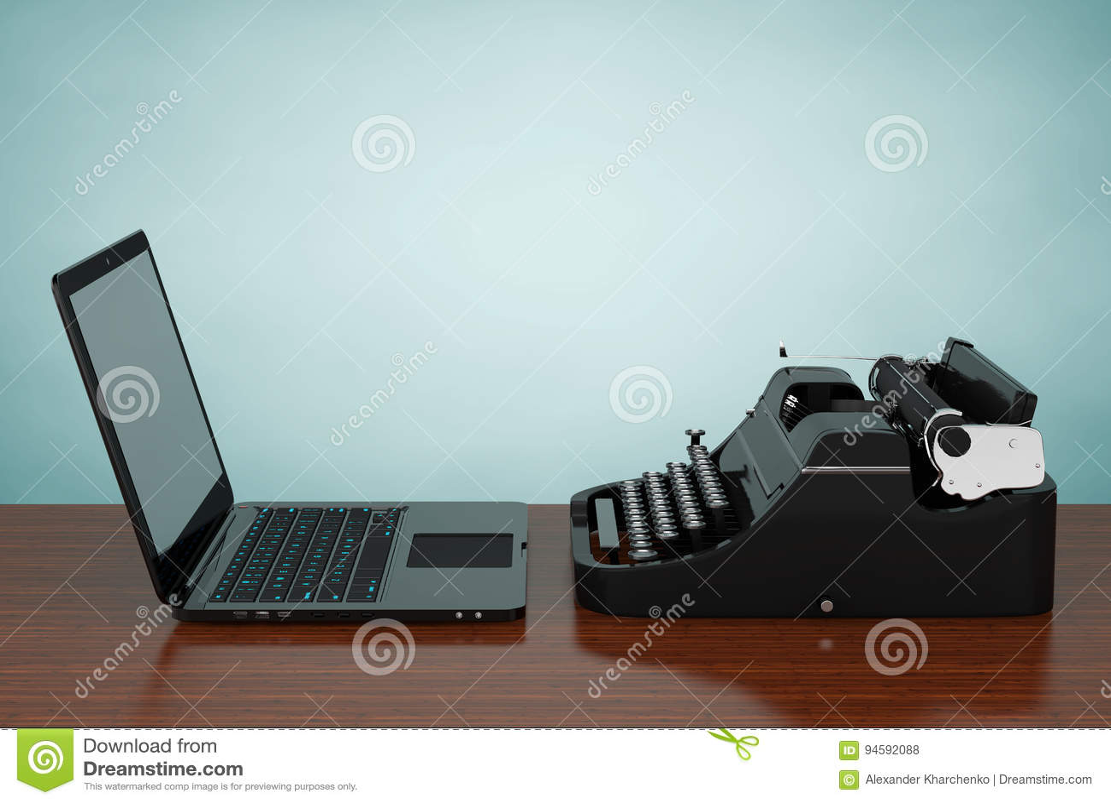 Ordenador portátil moderno con la máquina de escribir antigua representación 3d
