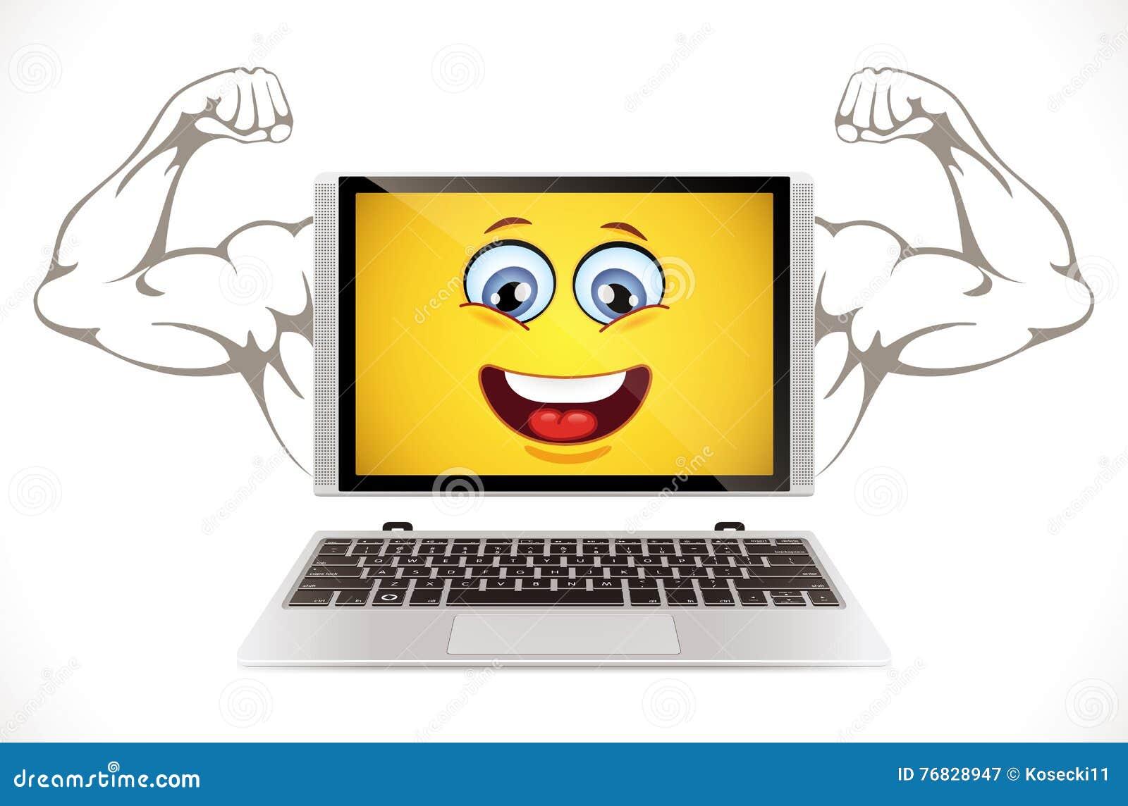Ordenador portátil muscular del ordenador con una cara sonriente