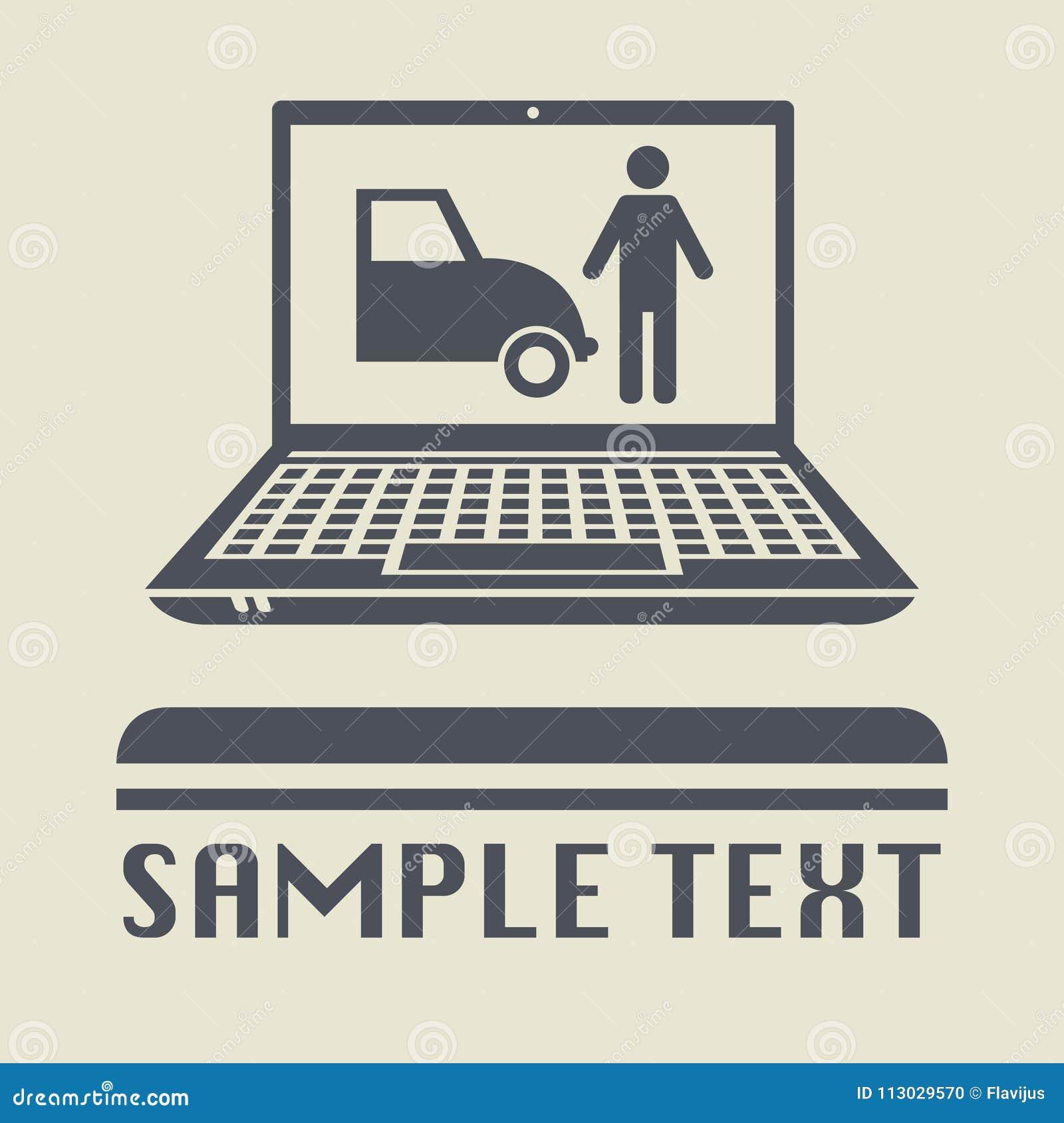 Ordenador portátil o ordenador portátil con el estacionamiento o la tienda del coche
