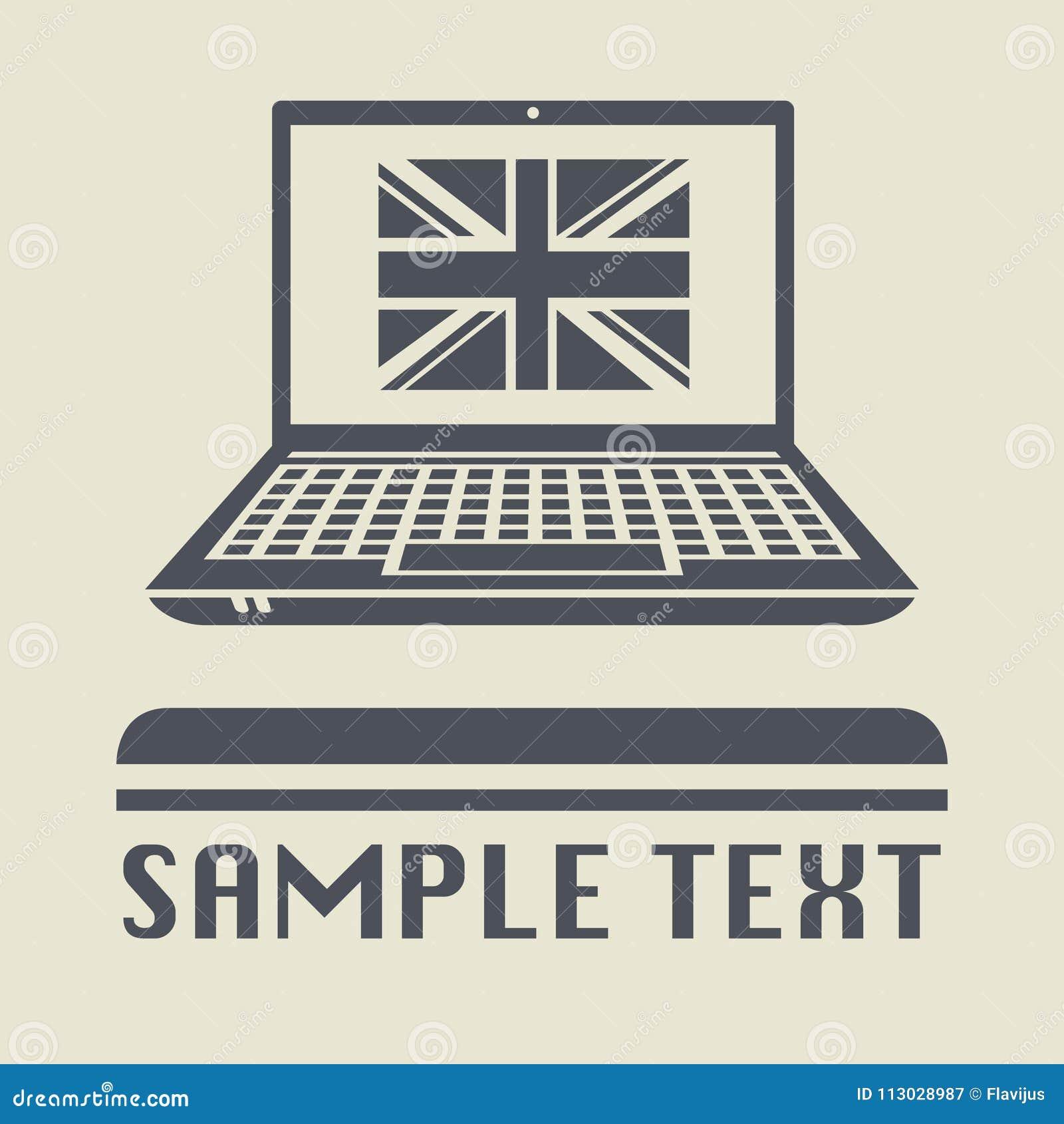 Ordenador portátil o ordenador portátil con el icono BRITÁNICO de la bandera