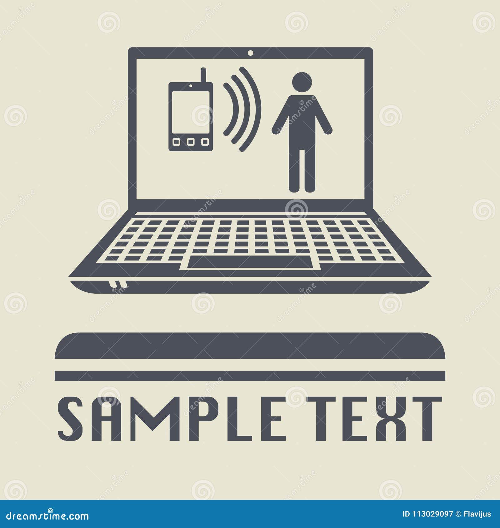 Ordenador portátil o ordenador portátil con el icono de la llamada del negocio