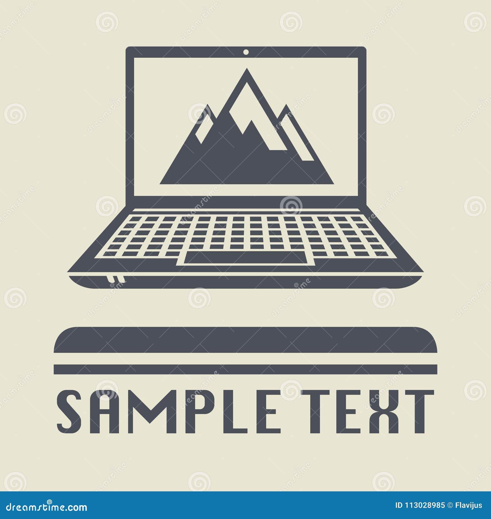 Ordenador portátil o ordenador portátil con el icono de la montaña