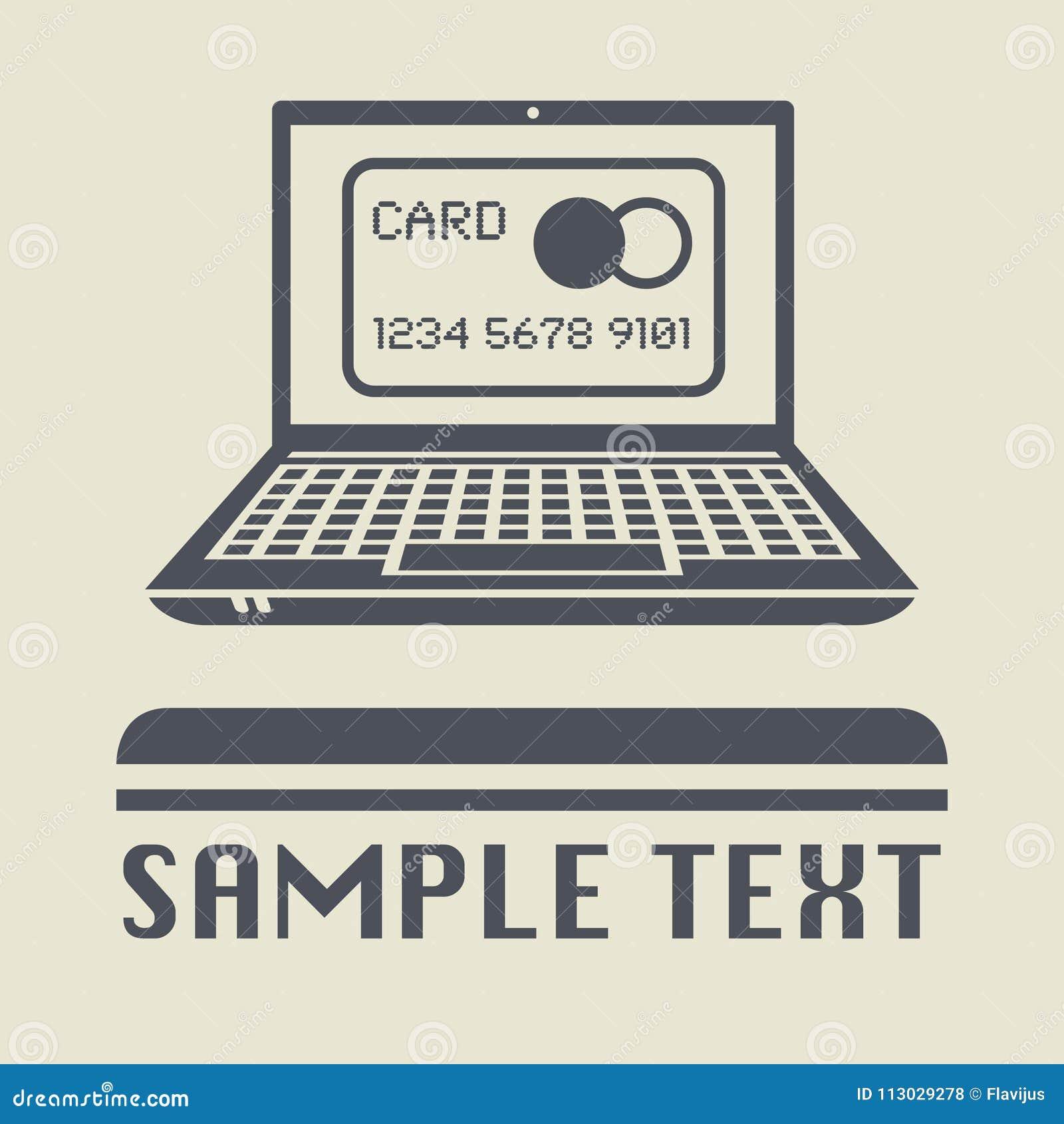 Ordenador portátil o ordenador portátil con el icono de la tarjeta de crédito