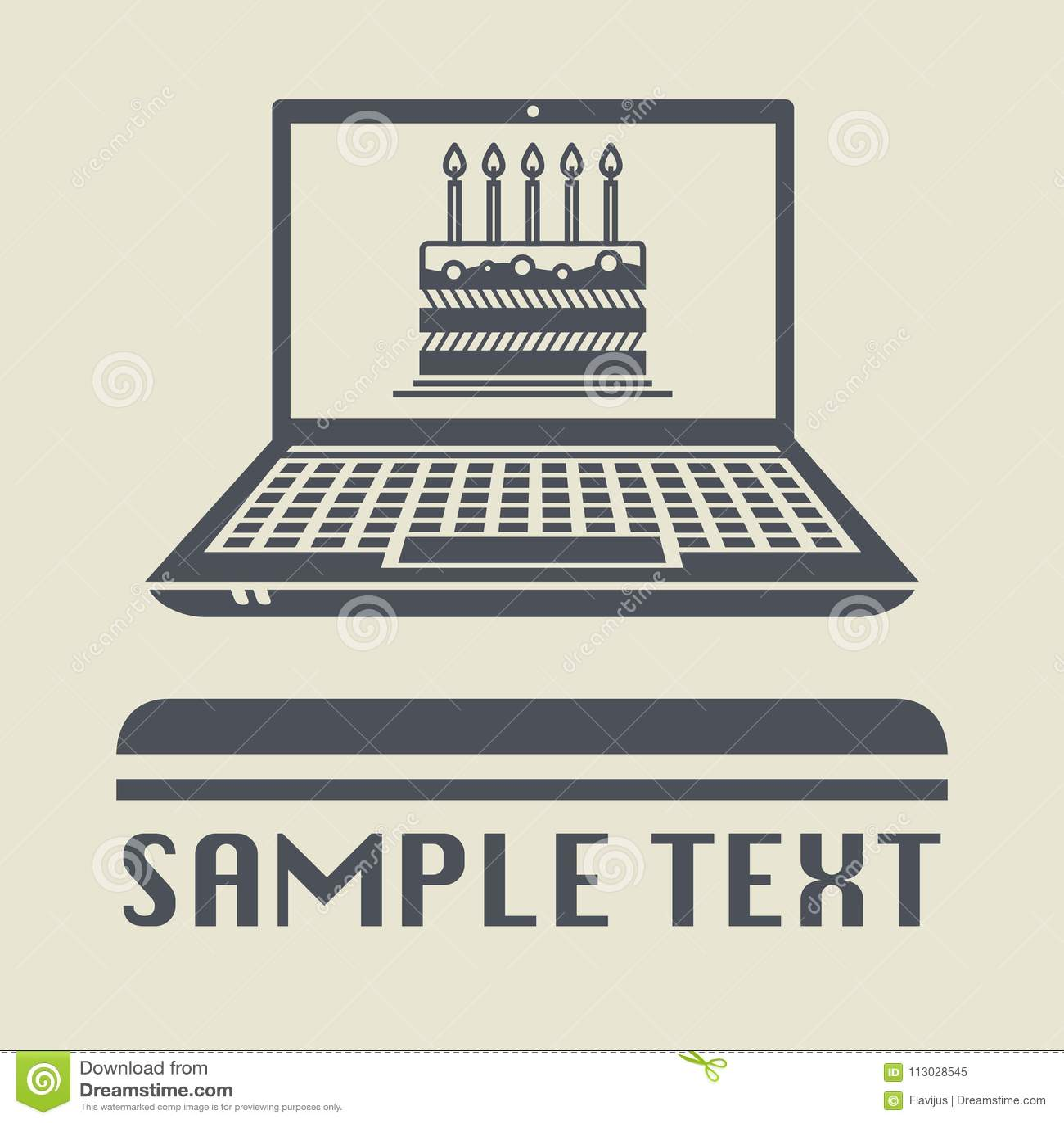 Ordenador portátil o ordenador portátil con el icono de la torta o del cumpleaños
