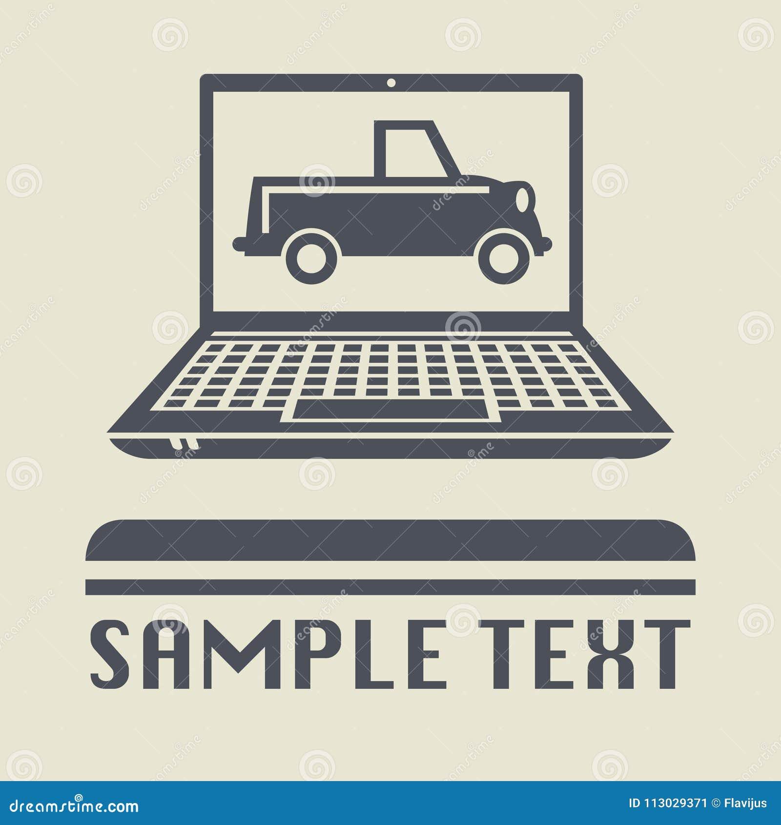 Ordenador portátil o ordenador portátil con el icono del coche del vintage