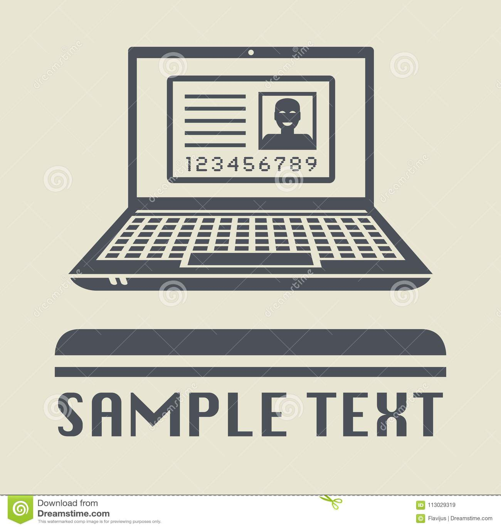 Ordenador portátil o ordenador portátil con el icono del documento de identidad