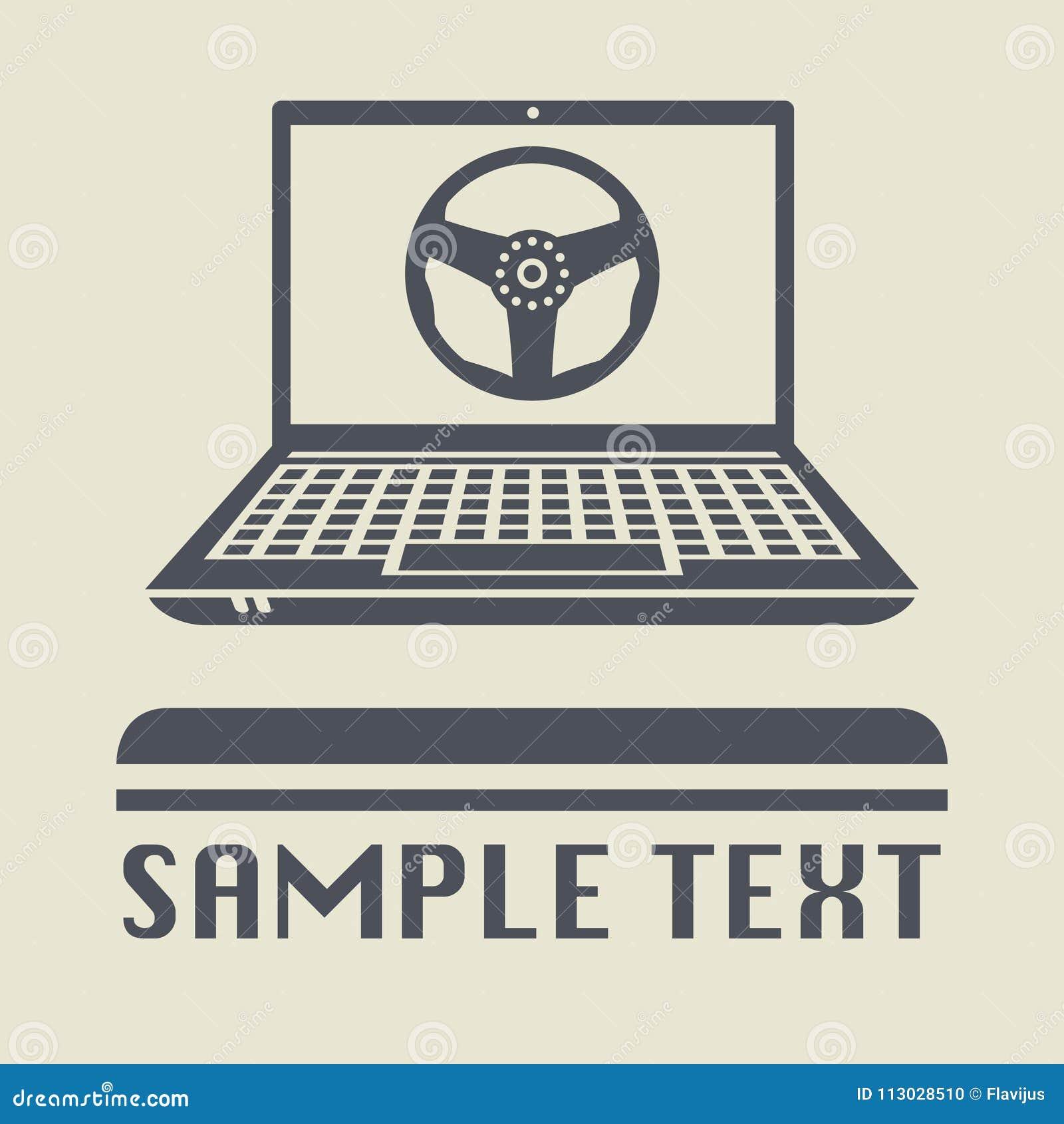 Ordenador portátil o ordenador portátil con el icono del volante