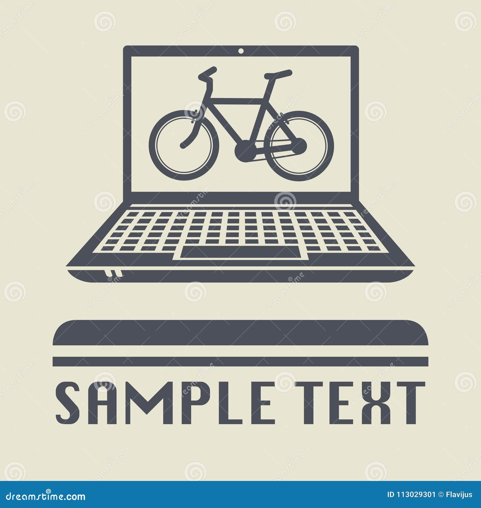 Ordenador portátil o ordenador portátil con el icono o la muestra de la bicicleta