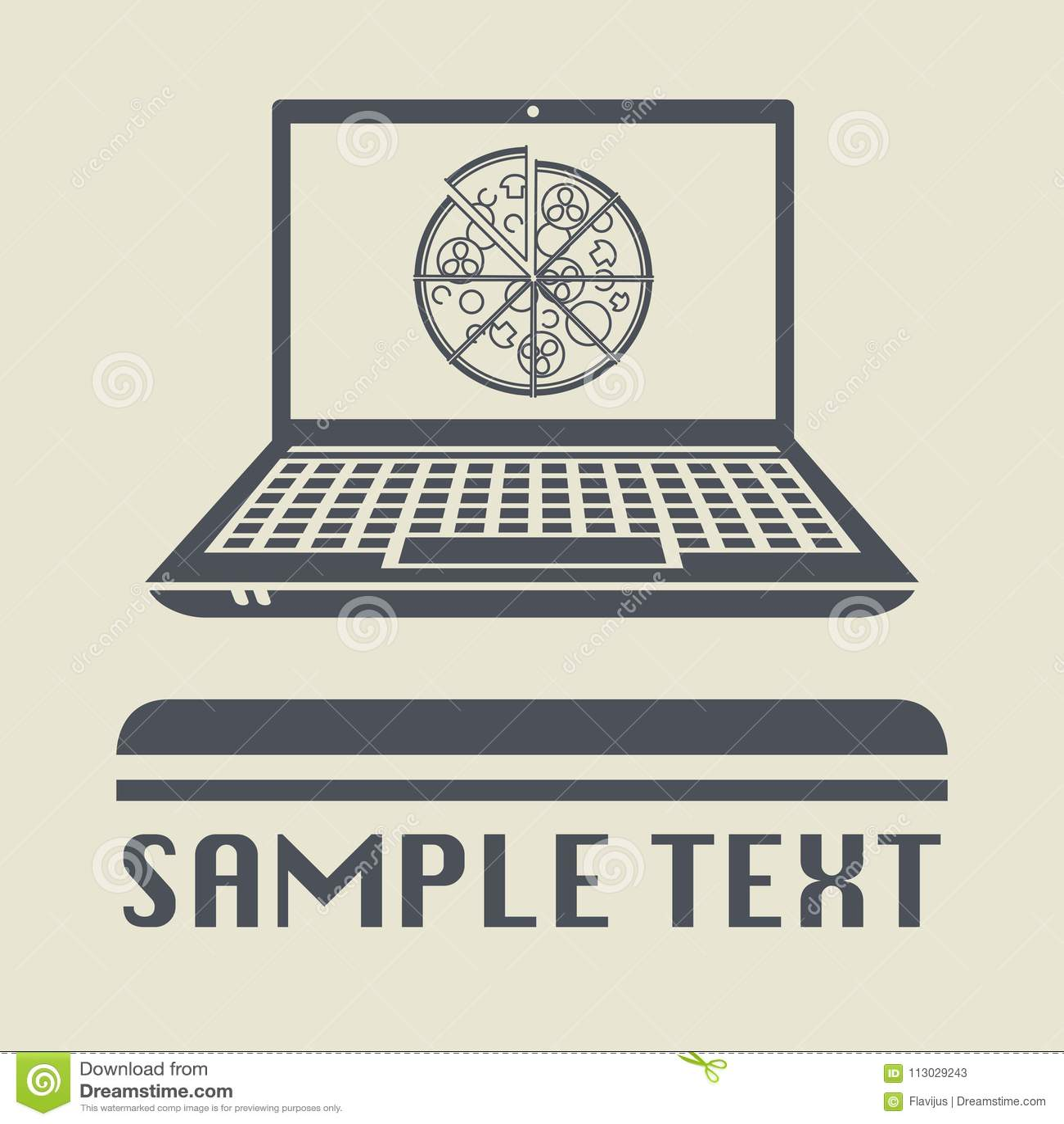 Ordenador portátil o ordenador portátil con el icono o la muestra de la pizza