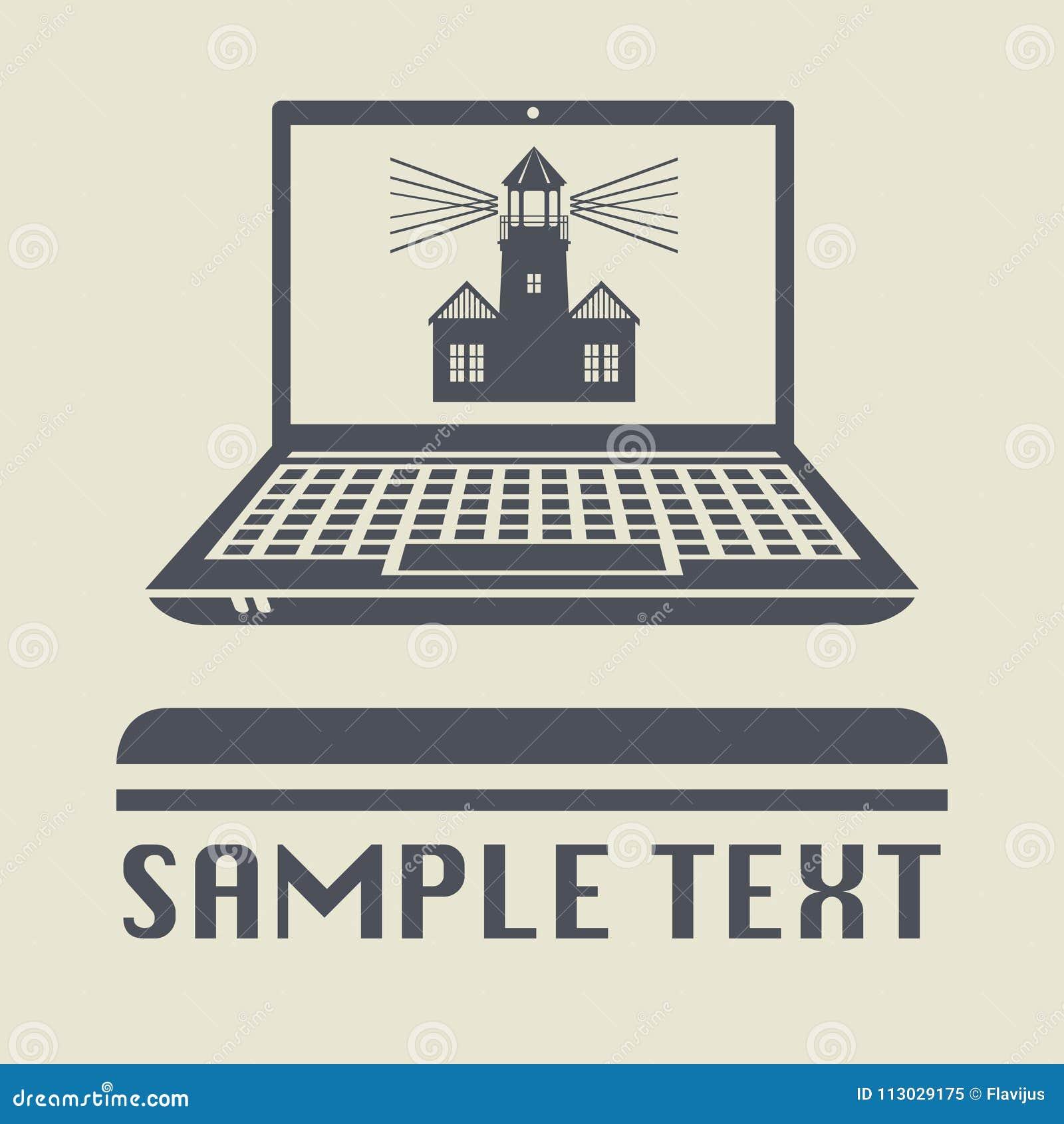 Ordenador portátil o ordenador portátil con el icono o la muestra del faro