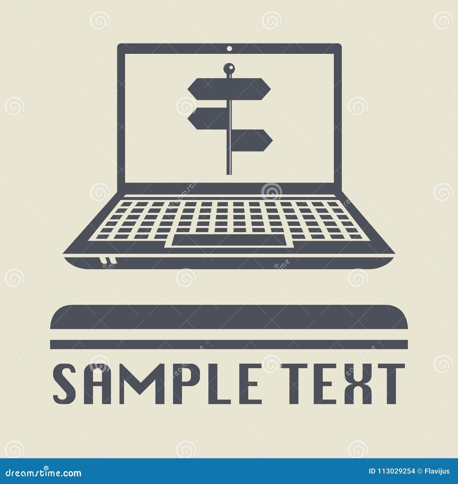Ordenador portátil o ordenador portátil con el icono o la muestra del poste indicador