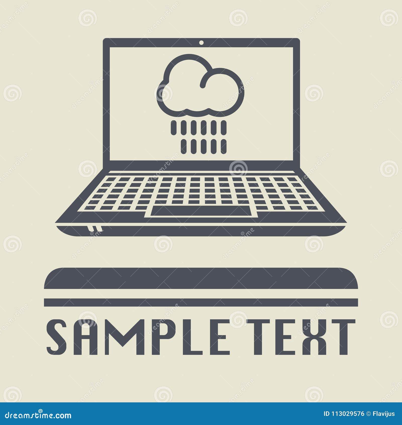 Ordenador portátil o ordenador portátil con el icono o la muestra lluvioso de la nube