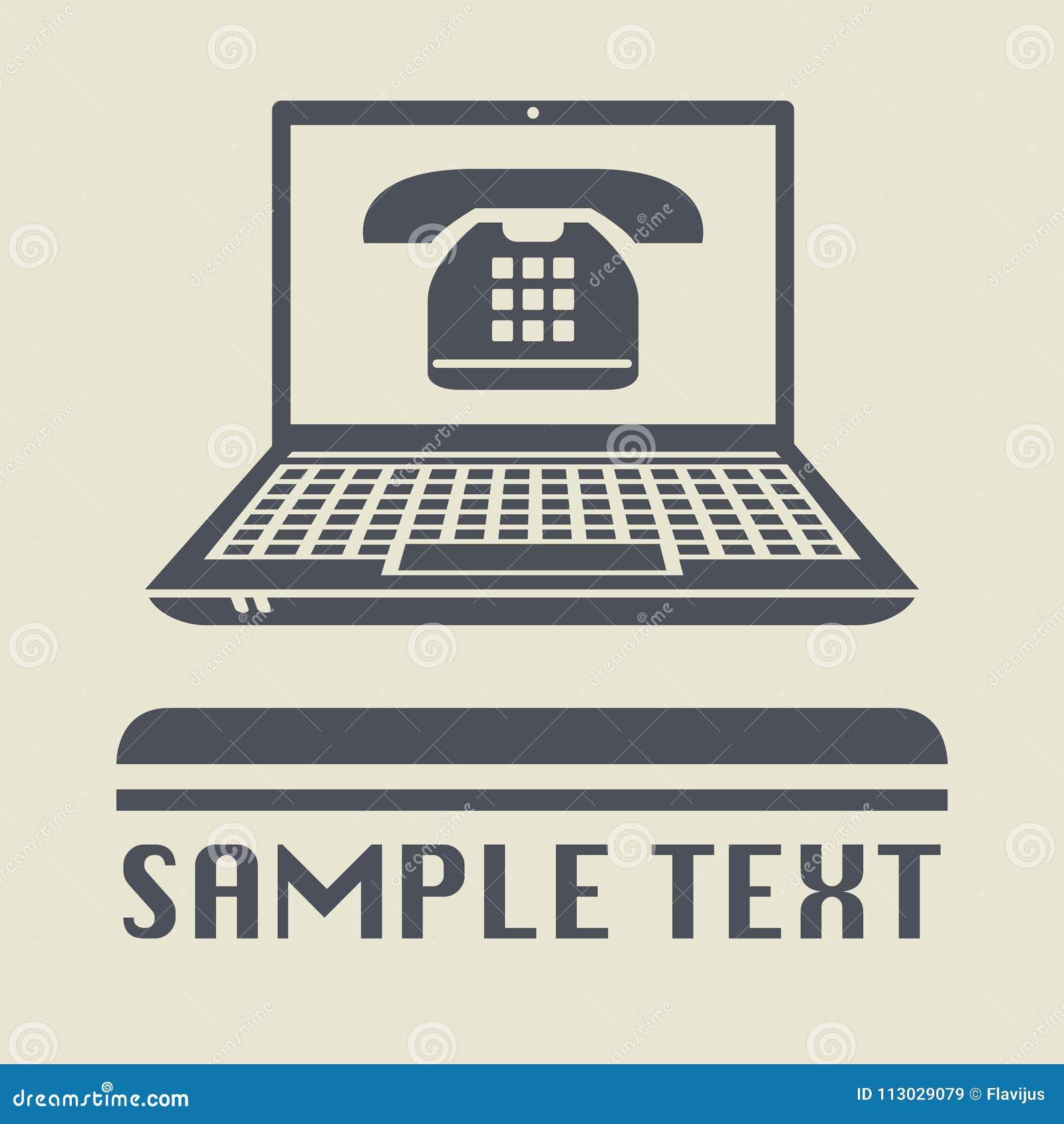 Ordenador portátil o ordenador portátil con el icono retro del teléfono