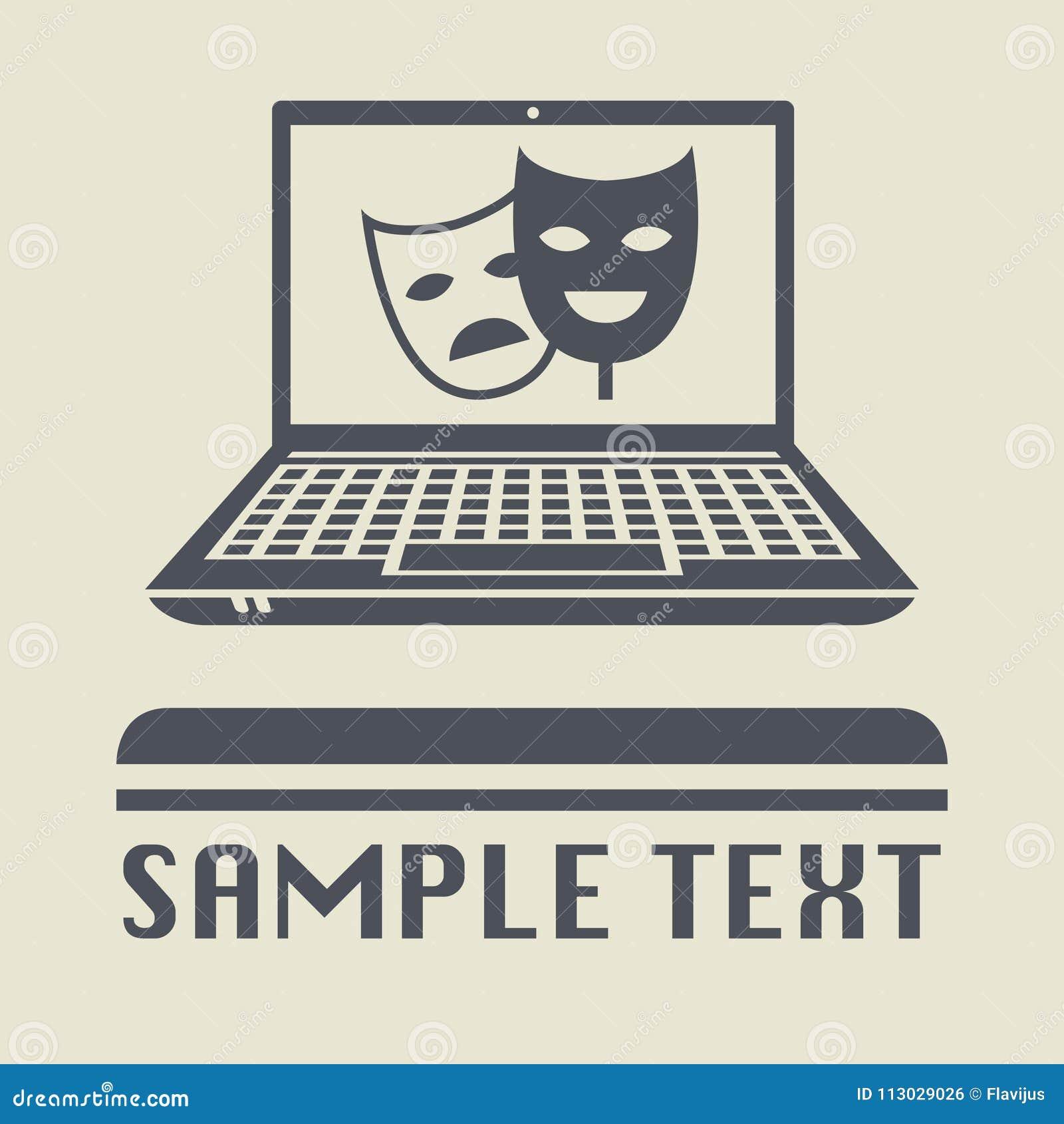 Ordenador portátil o ordenador portátil con la máscara del teatro