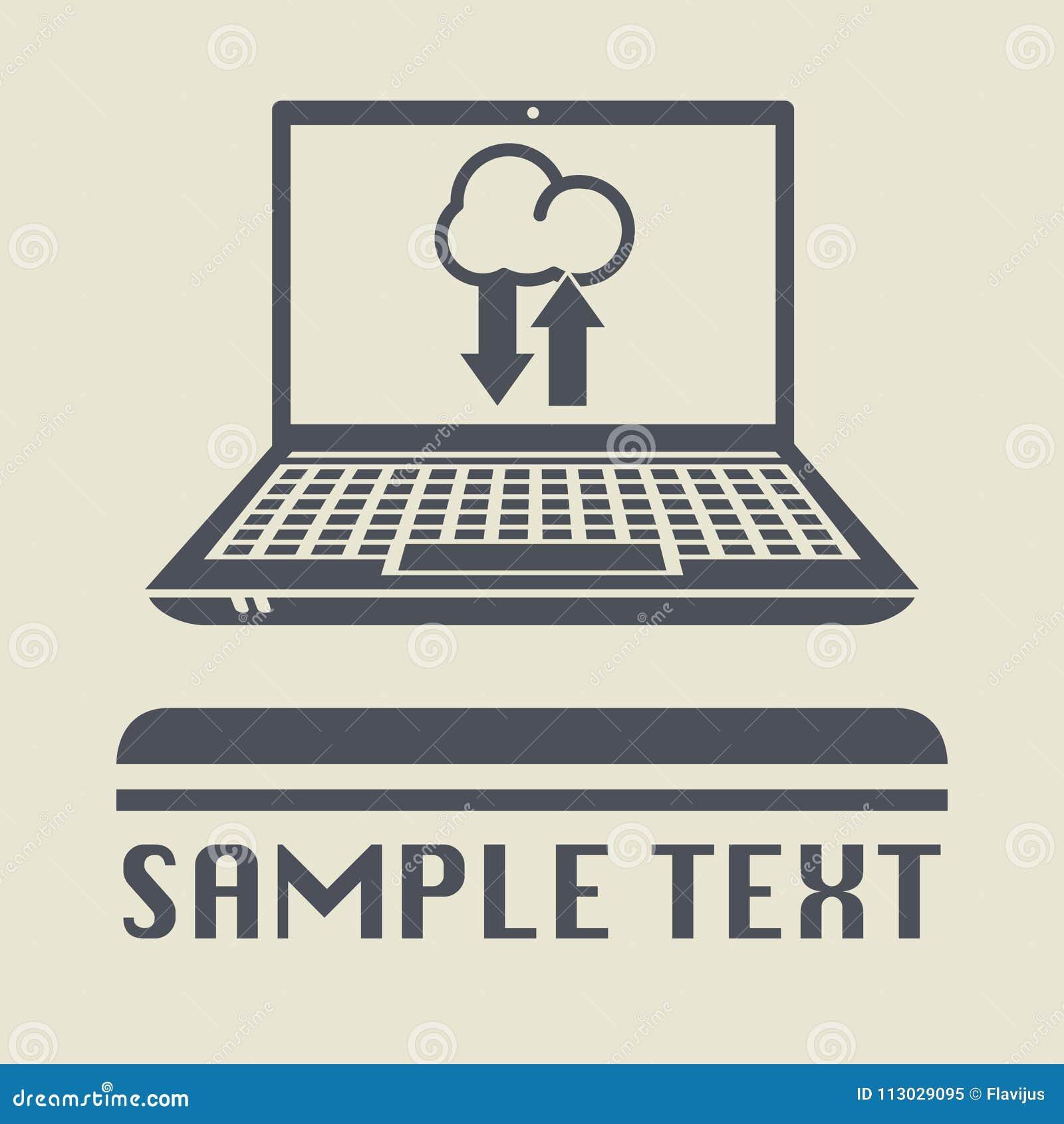 Ordenador portátil o ordenador portátil con la nube que recibe el icono