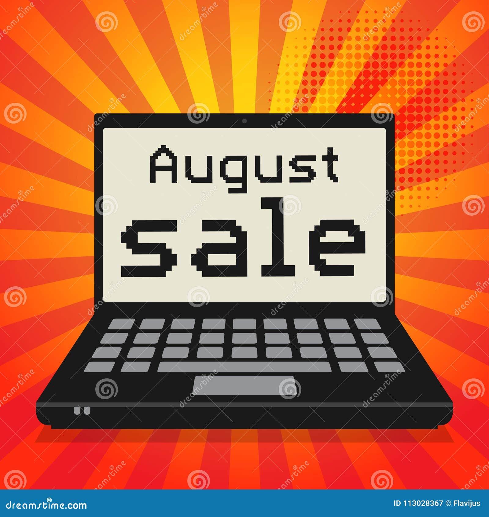 Ordenador portátil o ordenador portátil, concepto del negocio con el texto agosto S