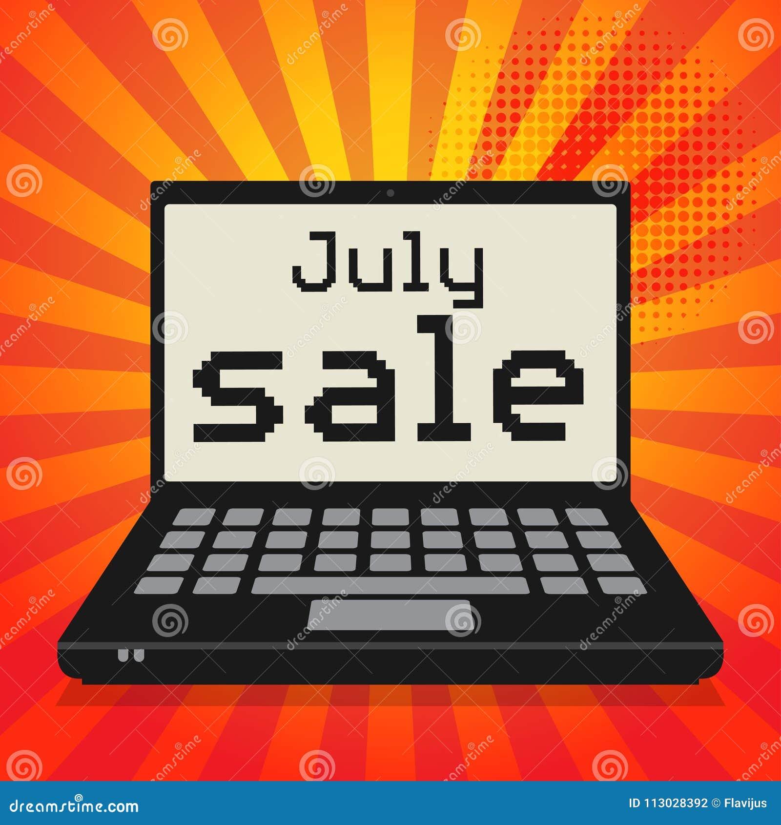 Ordenador portátil o ordenador portátil, concepto del negocio con la sal de julio del texto