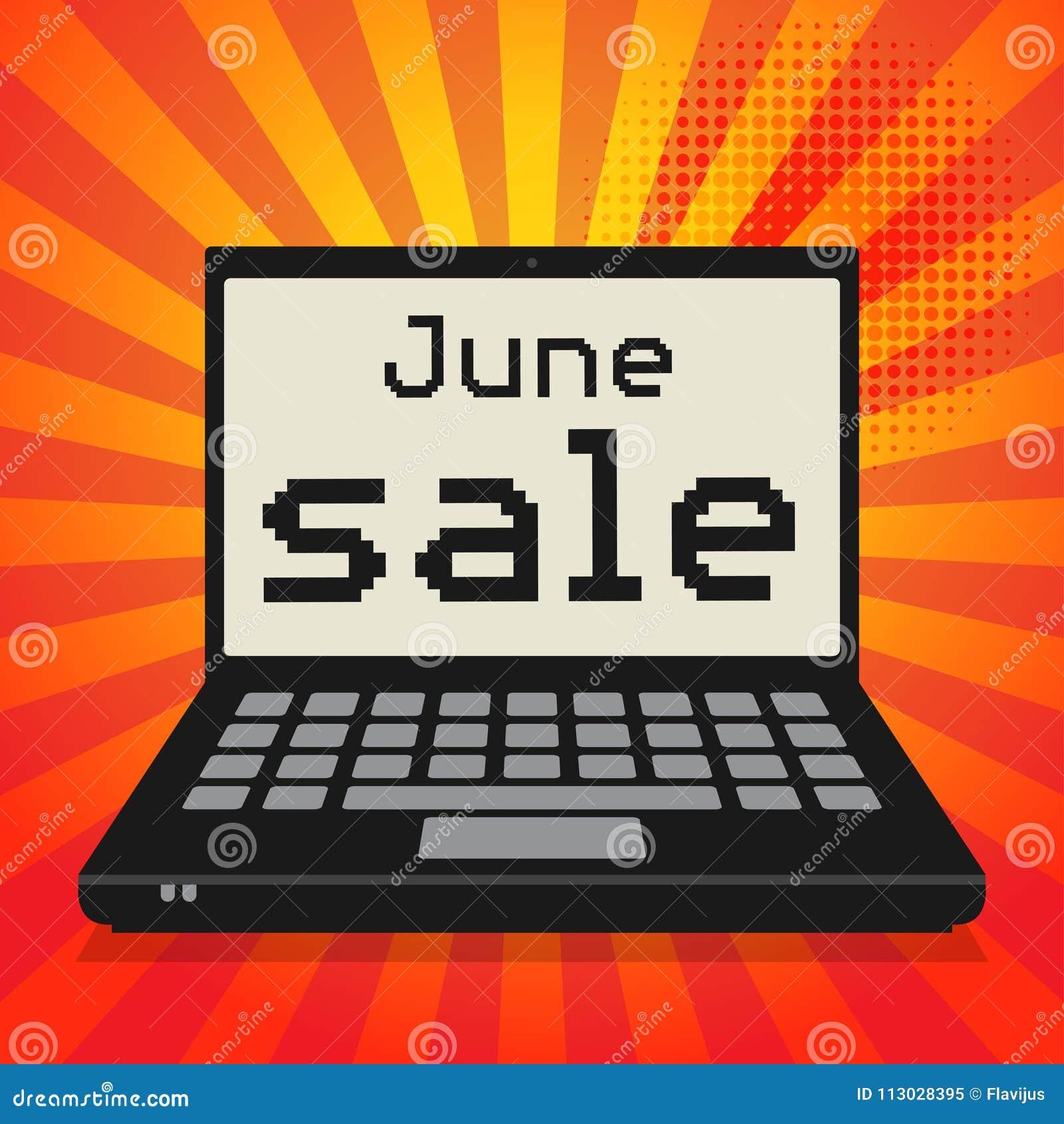 Ordenador portátil o ordenador portátil, concepto del negocio con la sal de junio del texto