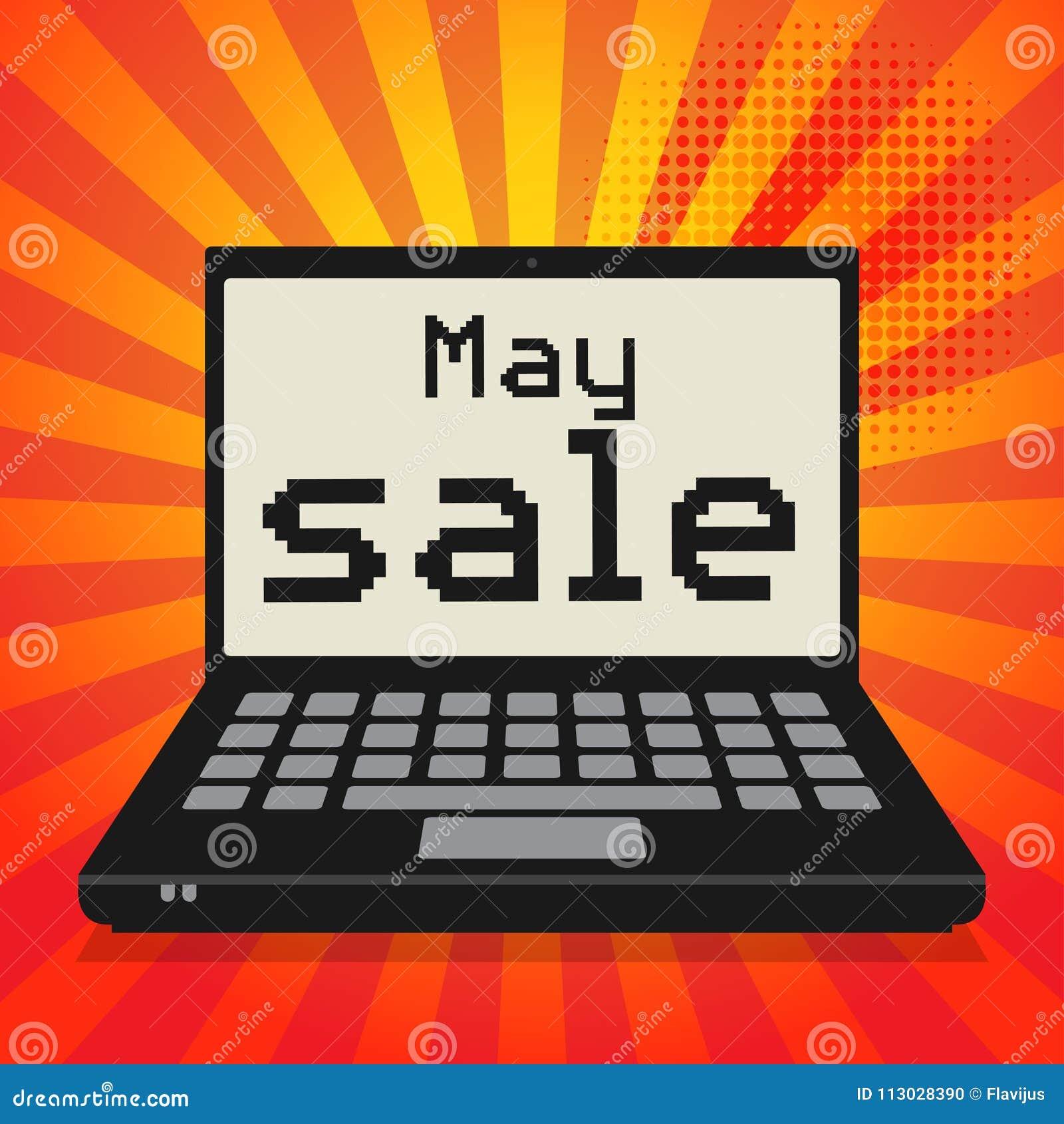 Ordenador portátil o ordenador portátil, concepto del negocio con la venta de mayo del texto