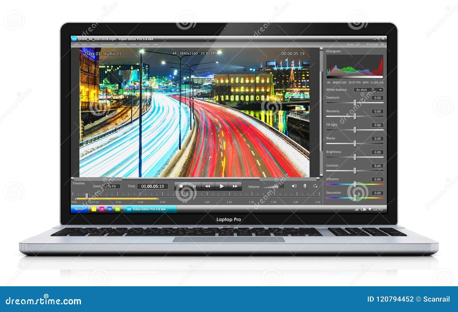 Ordenador portátil o cuaderno con el vídeo que corrige software